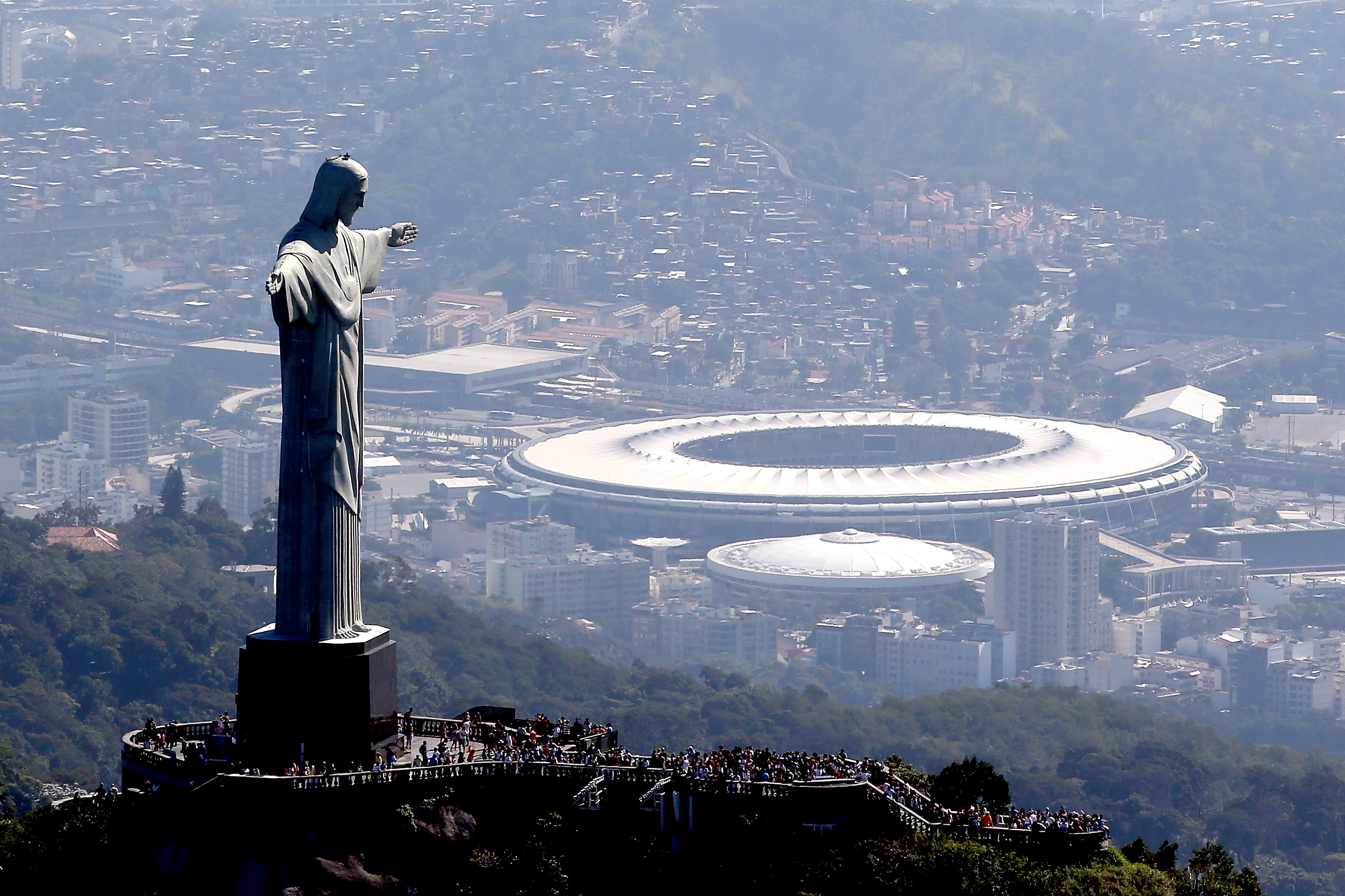 Aerial view of Christ the Redeemer with the Rio Olympics' Maracana Stadium in the background in Rio de Janeiro, Brazil.  (Getty Images)