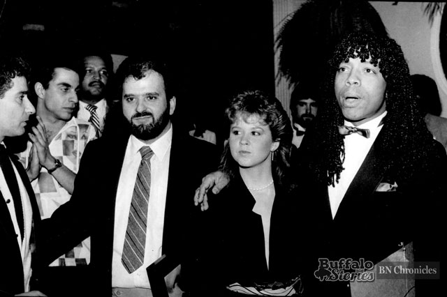James joined by his girlfriend-- Exorcist actress Linda Blair, and Bobby Militello at Mulligan's, on Hertel Avenue in 1982. (Buffalo News archives.)