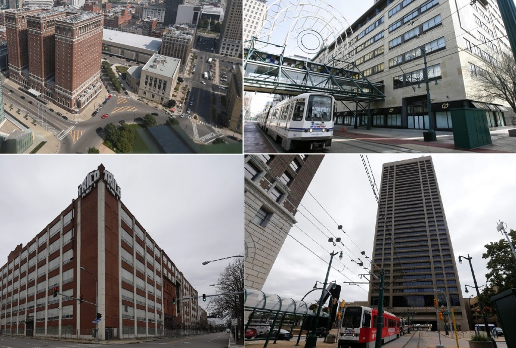 There is new hope for Buffalo's toughest-to-develop downtown buildings including the Statler Hotel, top left (seen from the Observation Deck of City Hall), the AM&A's building on Main Street, top right, the Trico building, bottom, left, and One Seneca Tower. (Buffalo News file photos)