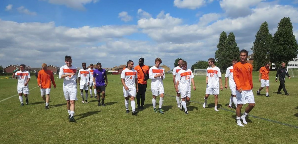 The Bengals walk across a pitch in England on the day they faced AFC Bournemouth U18s. (Devonte Black)