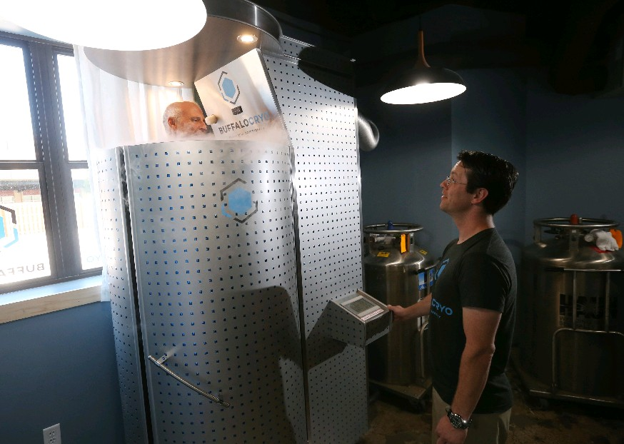 Buffalo Cryo co-owner and physical therapist Jacob Fey also worked with nitrogen in the U.S. Navy. He's shown here administering a cryotherapy treatment in the Fairmout Creamery Building.