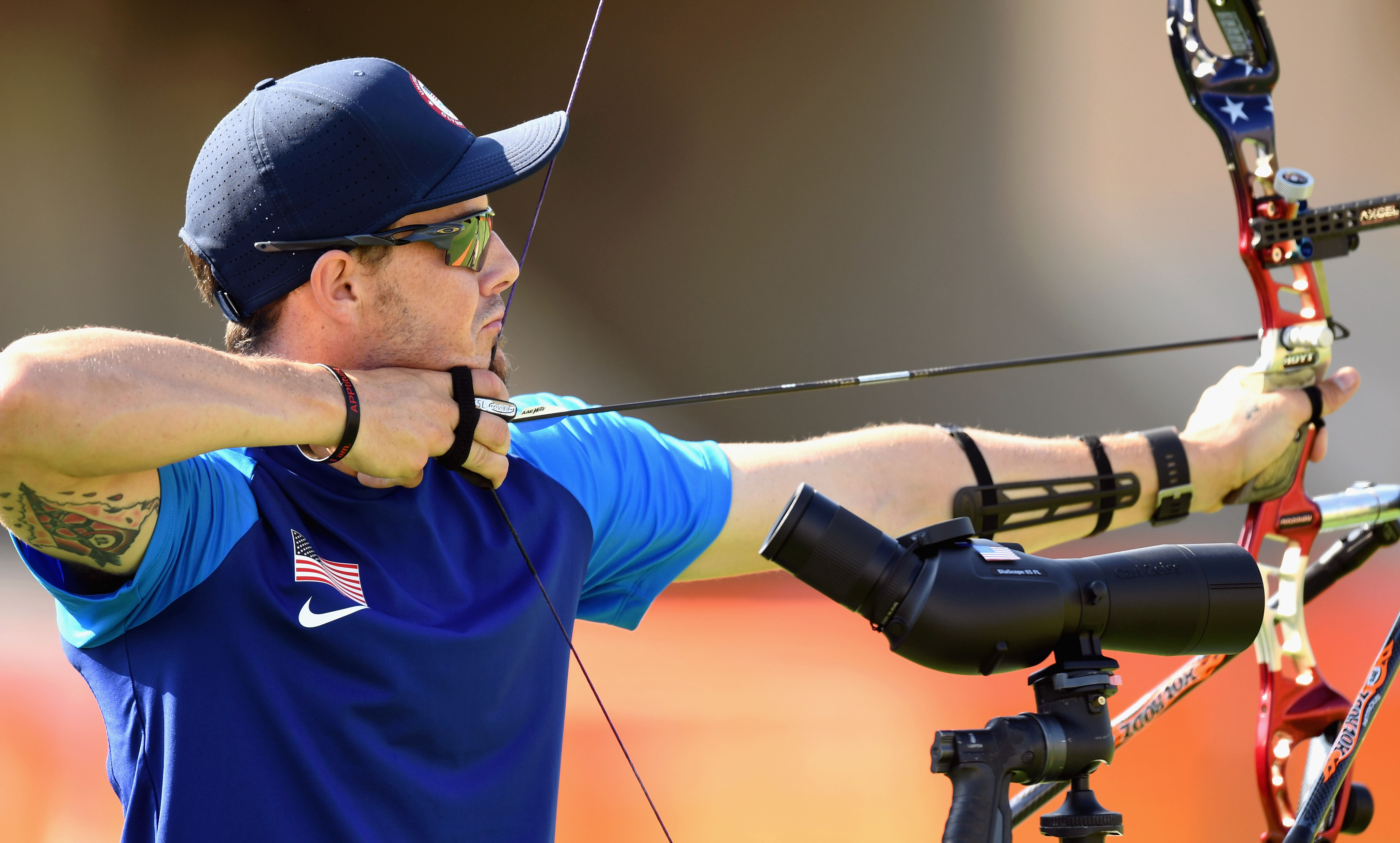 Elma native Jake Kaminski of the United States competes during the Men's Individual Ranking Round of the Rio 2016 Olympic Games at the Sambodromo Olympic Archery venue on August 5, 2016 in Rio de Janeiro, Brazil.  (Getty Images)