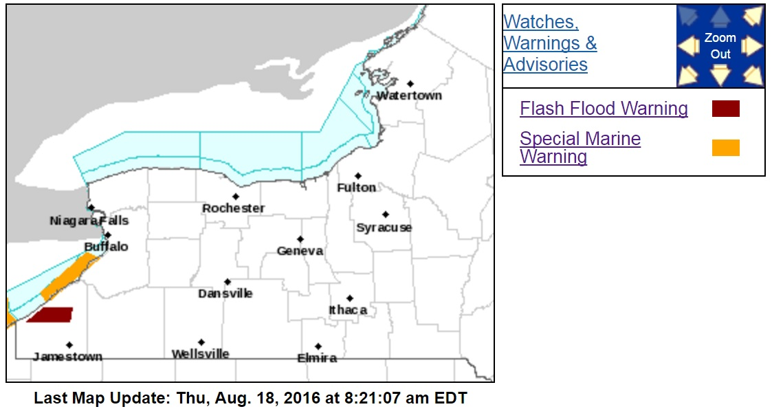 Marine warnings were in place from Geneva-on-the-Lake, Ohio to Ripley and from Brocton to Lake View. (NWS)