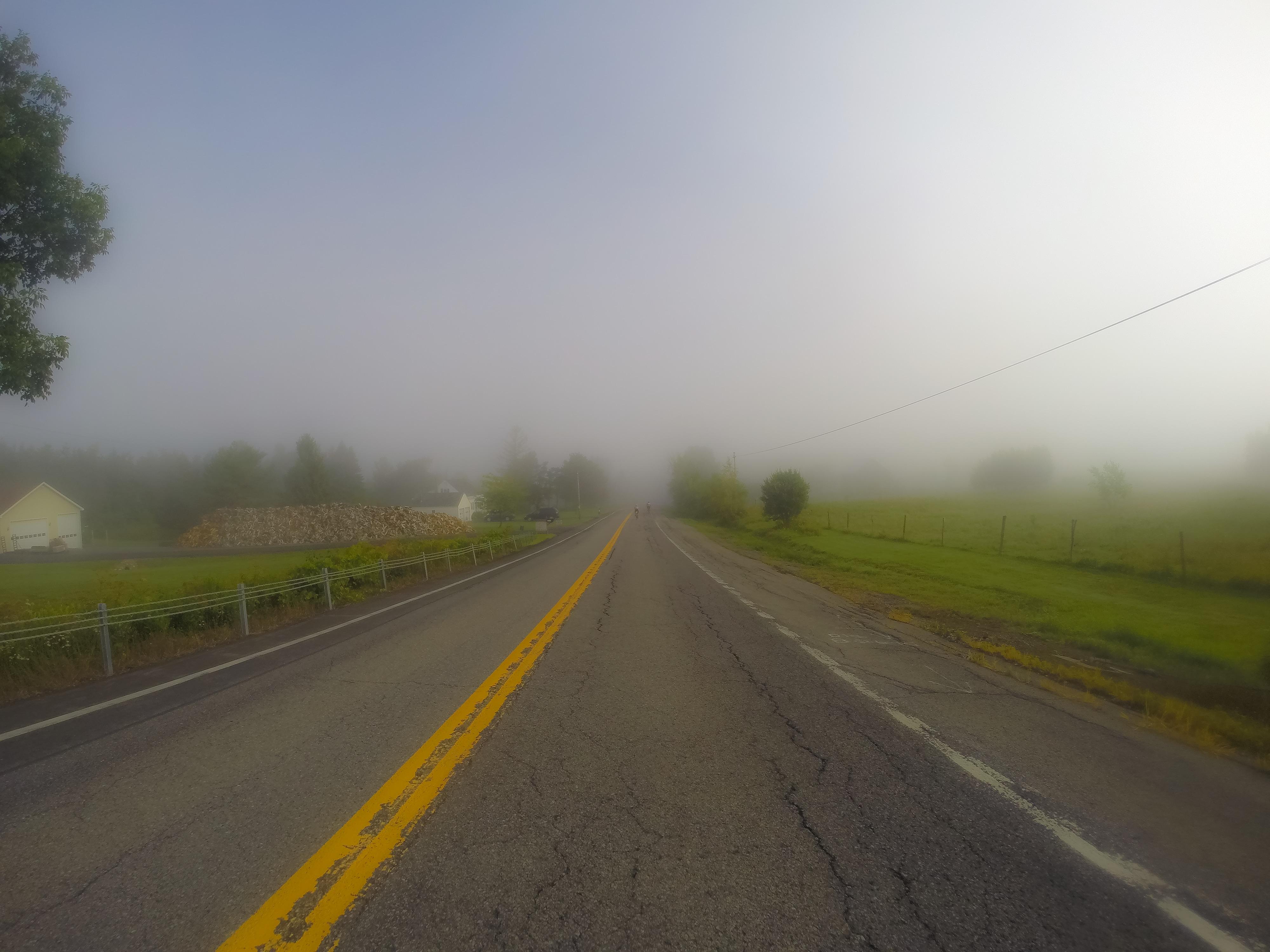 Riding through Stuyvesant, N.Y. as the sun burns off the morning fog.