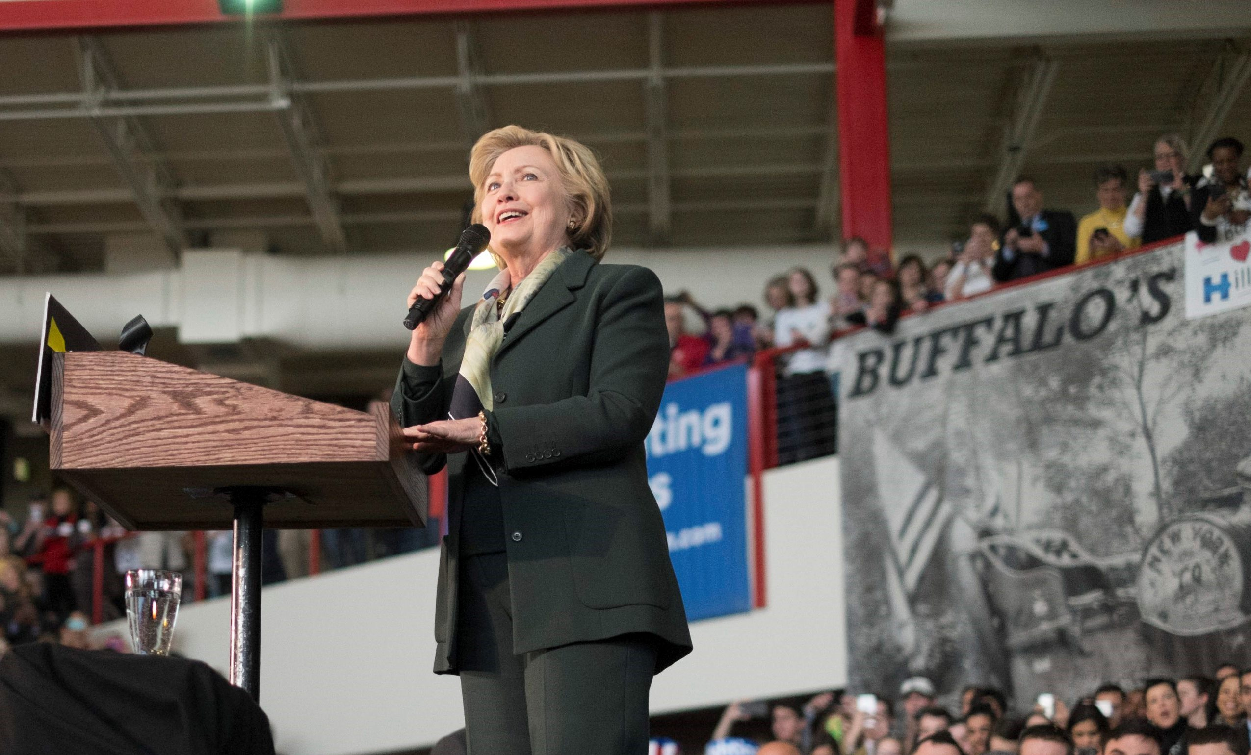 Democratic presidential nominee Hillary Clinton speaks at a campaign event at the Pierce Arrow Museum in Buffalo. (News file photo)