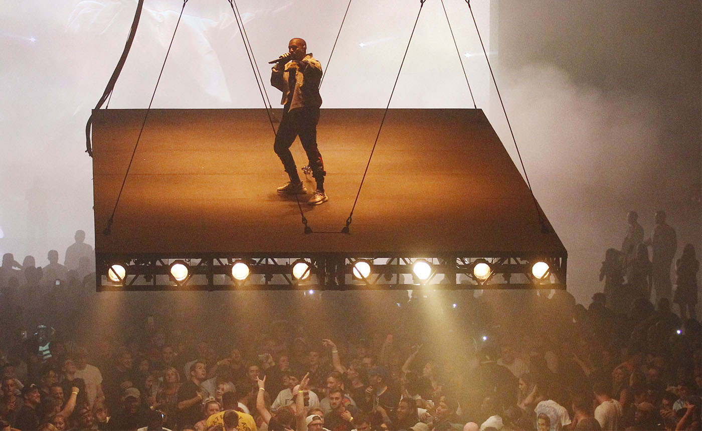 "Kanye West performs at First Niagara Center on a ""floating stage,"" Saturday, Aug. 27, 2016. (Sharon Cantillon/Buffalo News)"