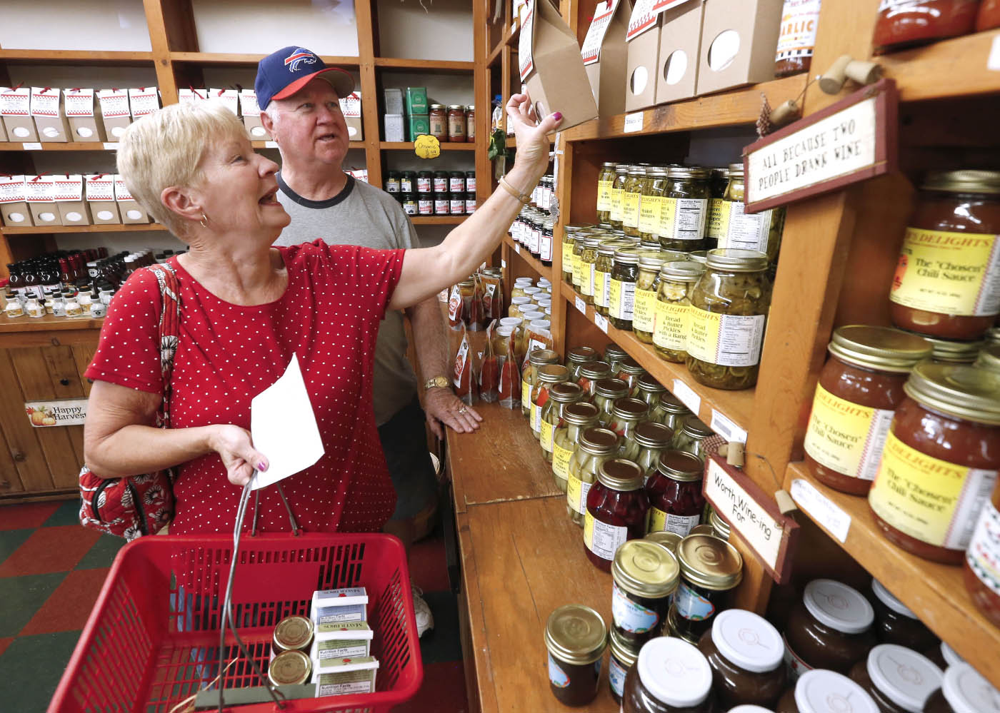 Bill and Mary McMahon of Boston, NY, had a list of their fall favorites. Enjoyed a look behind the scenes of the Mayer Brothers cider mill & bakery that has been delighting WNY customers for 164 years. Tuesday, Sept. 20, 2016. (Robert Kirkham/Buffalo News)