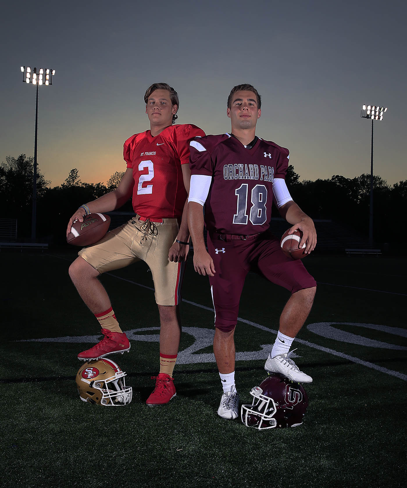St. Francis quarterback Jerry Hickson and Orchard Park quarterback Dillon Janca at Orchard Park High School on Tuesday, Aug. 23, 2016. (Harry Scull Jr./Buffalo News)
