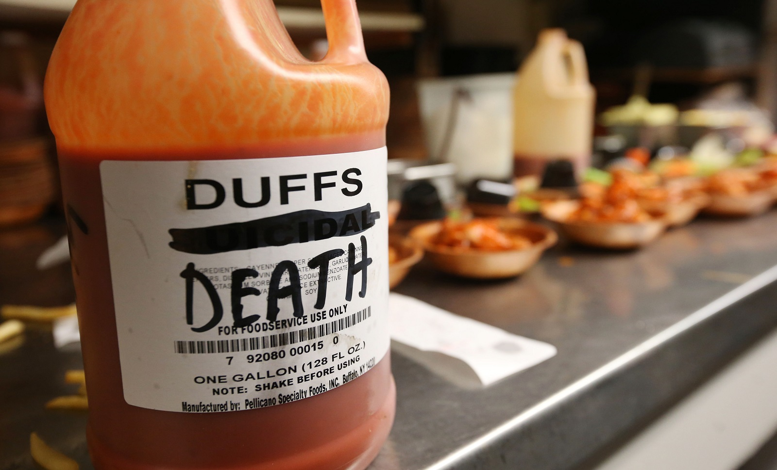 Duff's offers 10 different flavors and heat variations. The traditional flavor goes from mild to death. (Sharon Cantillon/Buffalo News)