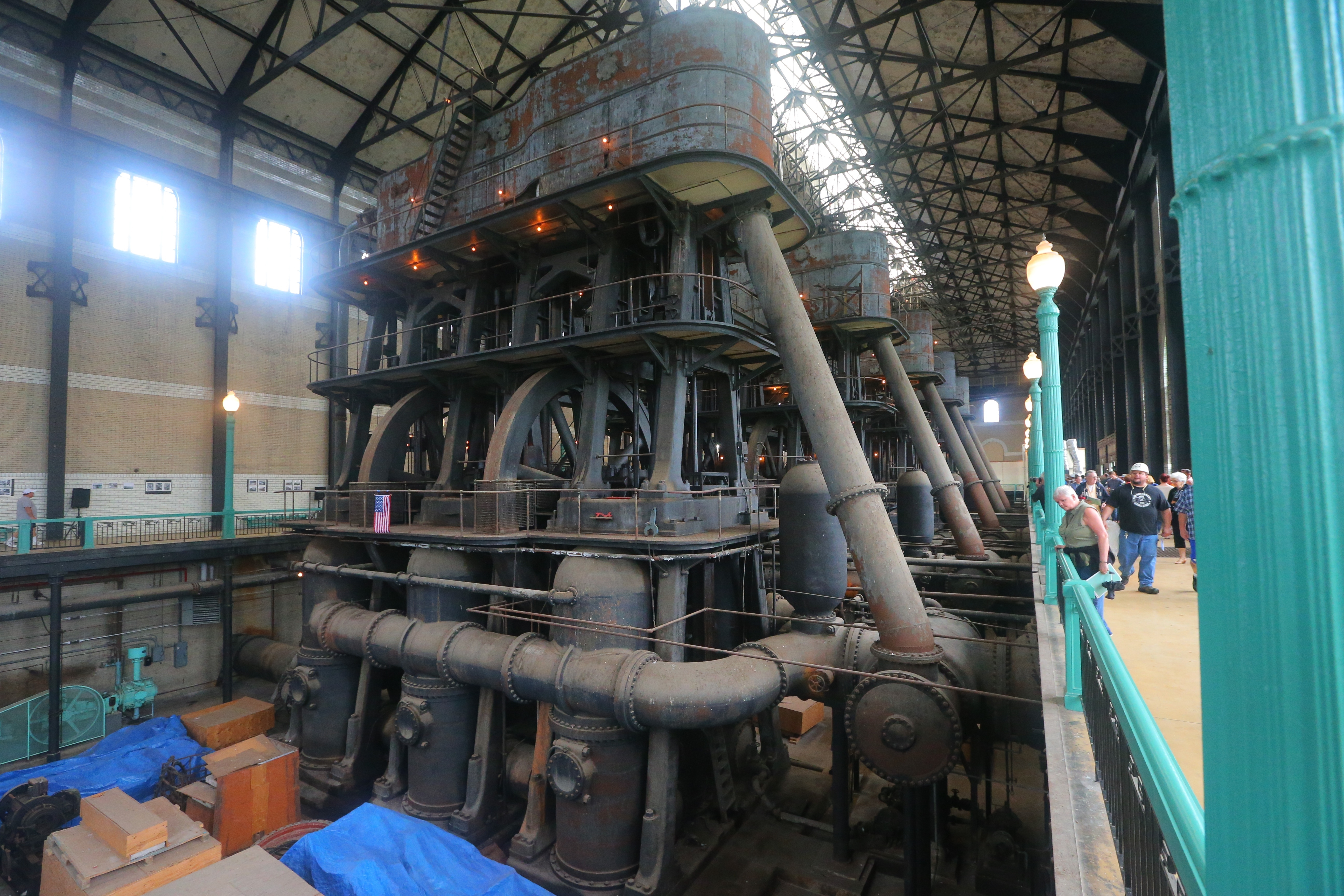 A public tour of the Col. Francis G. Ward Pumping Station on Porter Ave. on Saturday highlighted the five six-story-high steam pumps. The gigantic steam pumps were a feat when they were built in 1915, and they still have the power to impress today. (John Hickey/Buffalo News)