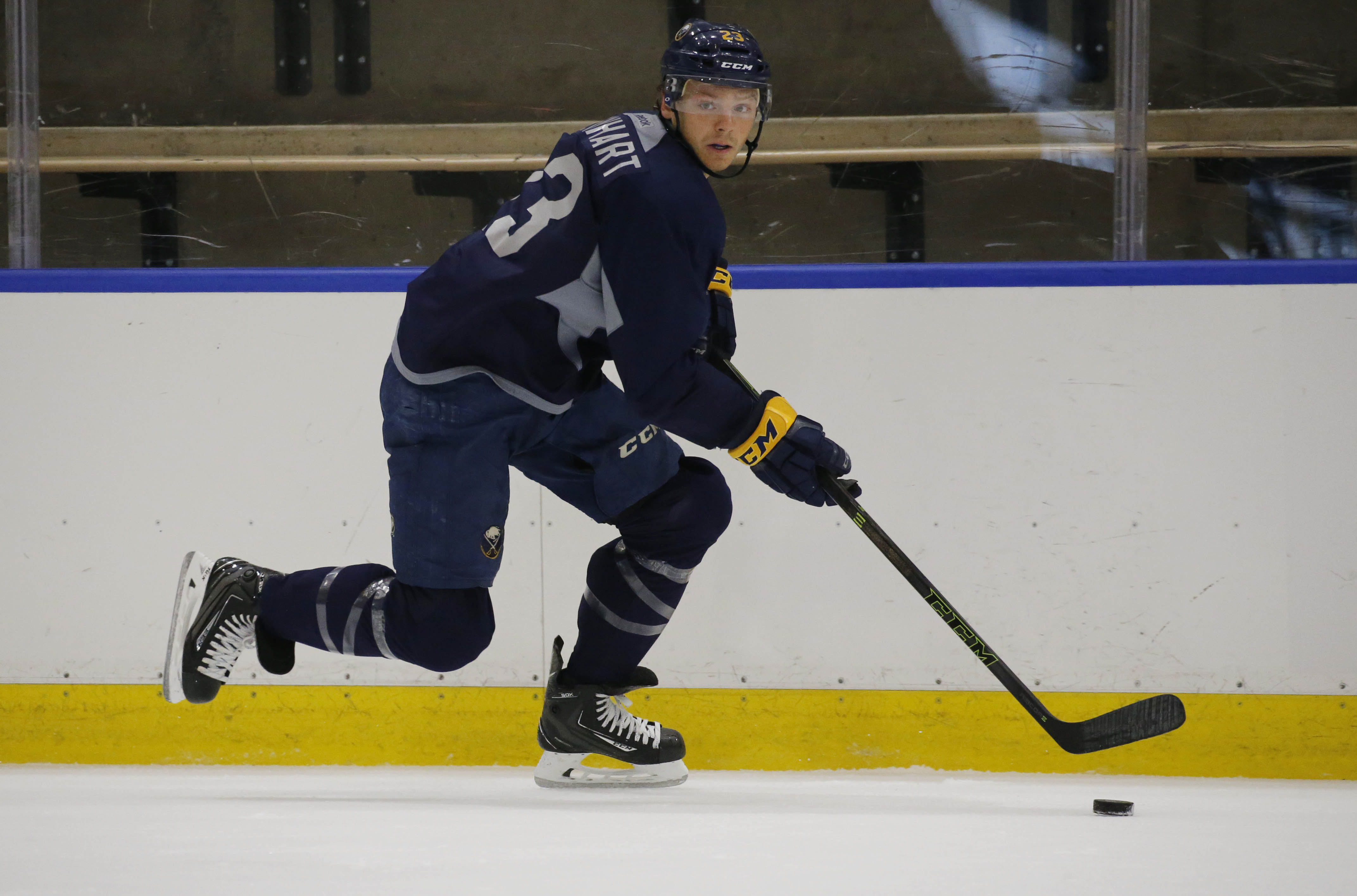 When he has the puck, Sam Reinhart is '10 steps ahead of the game,' teammate Jake McCabe says.  (Derek Gee/Buffalo News)