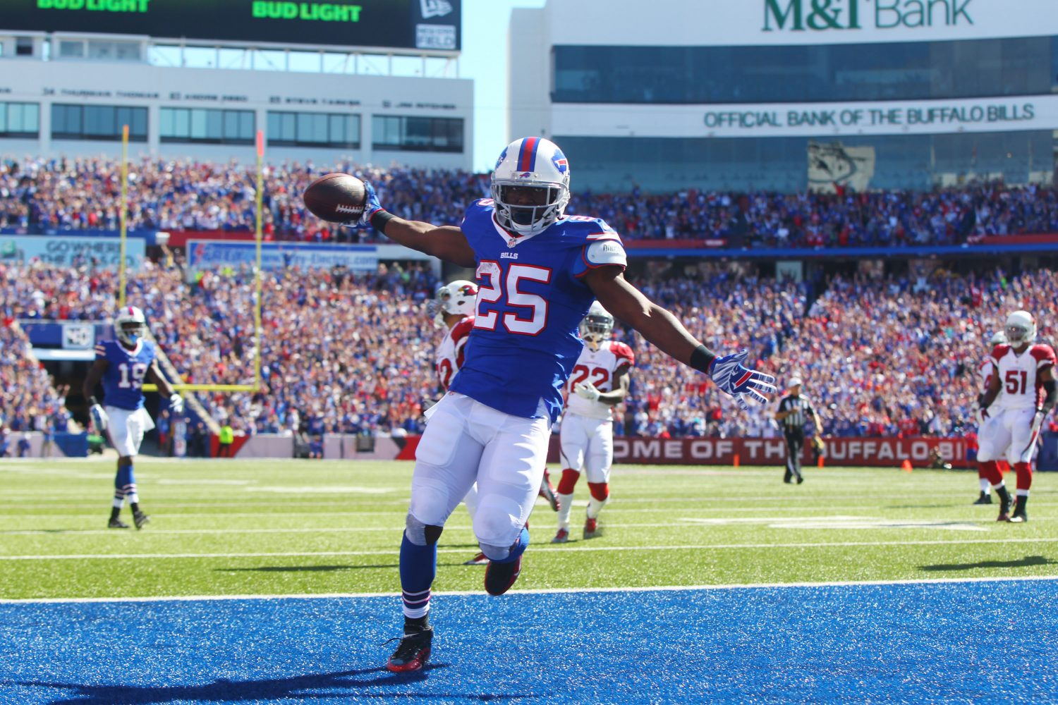 Buffalo Bills running back LeSean McCoy runs into the end zone for a touchdown against the Arizona Cardinals Sunday during the first quarter at New Era Field. (Mark Mulville/Buffalo News)