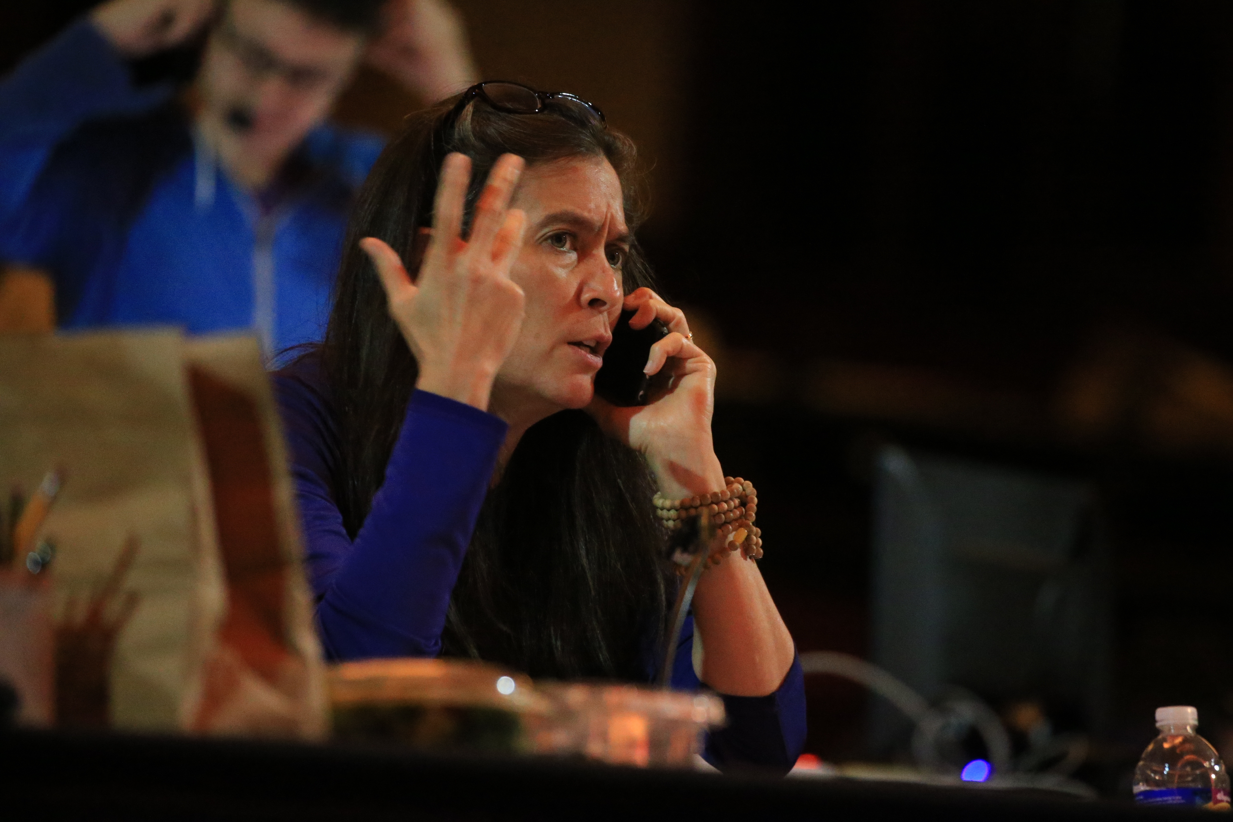 """Finding Neverland"" director Diane Paulus at work in Shea's Performing Arts Center in Buffalo, N.Y. on Thursday Sept. 29, 2016. (John Hickey/Buffalo News)"