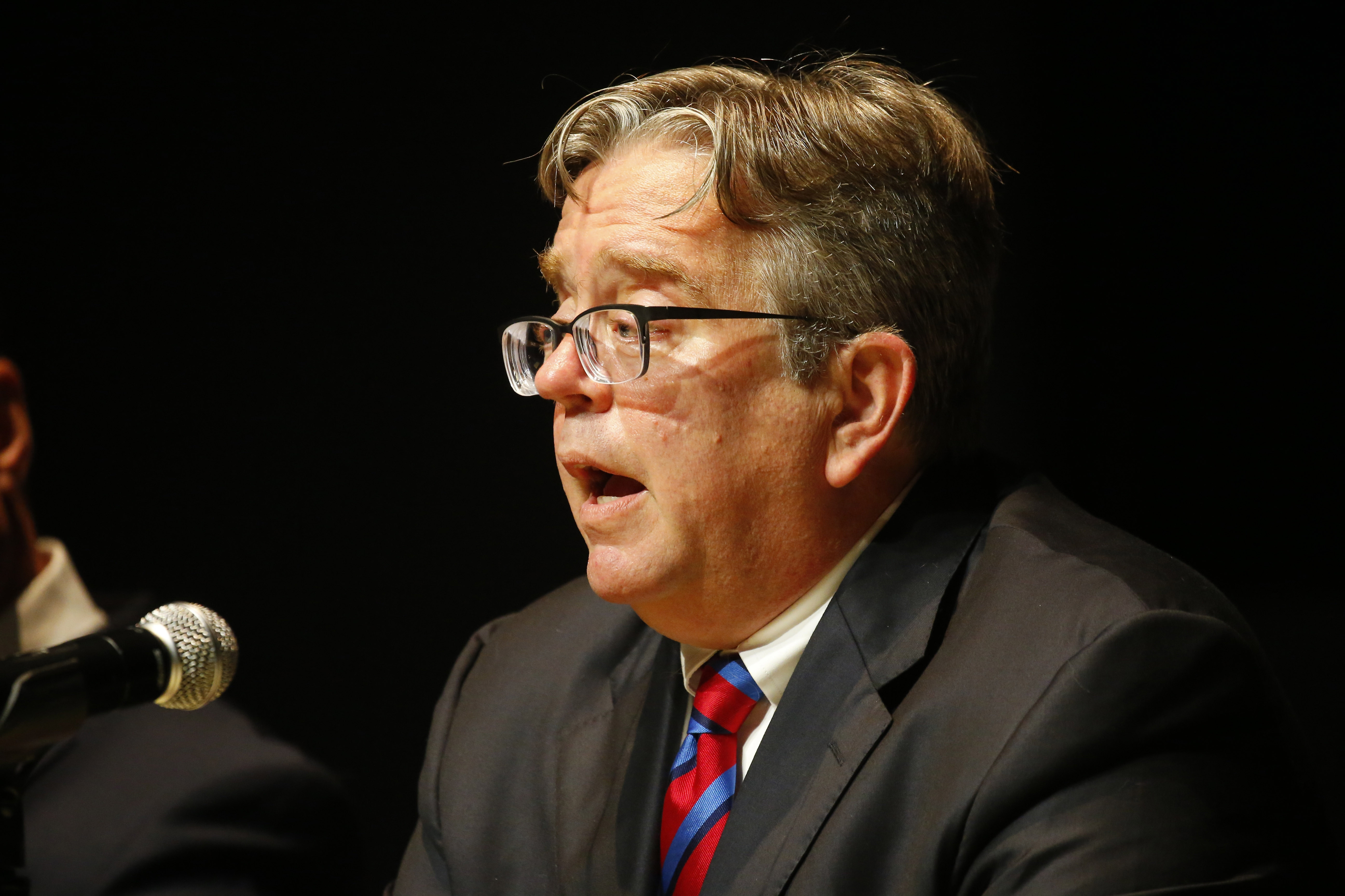 Candidate Mark A. Sacha speaks during a debate at the Burchfield Penney Arts Center in Buffalo, Thursday, Aug. 24, 2016. (Mark Mulville/Buffalo News)