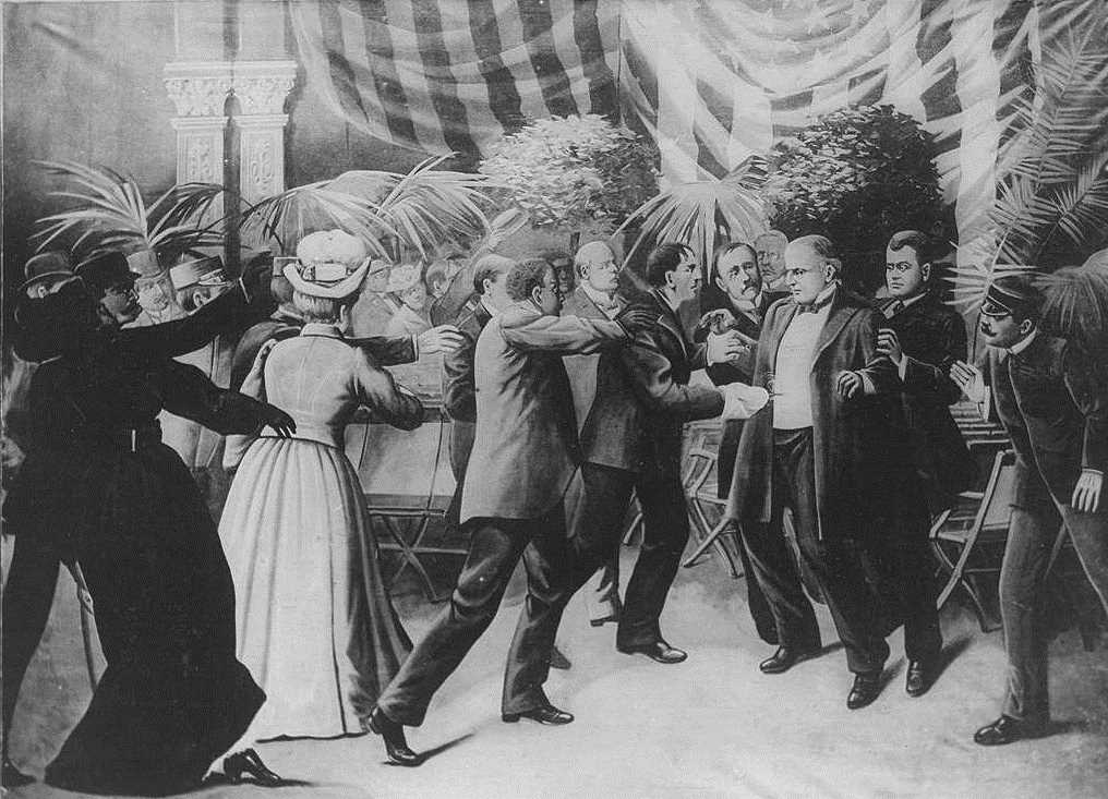 An illustration recreating the assassination of President William McKinley by Leon Czolgosz at the Temple of Music at the Pan-American Exposition on Sept. 8, 1901. (Image courtesy of the Library of Congress)