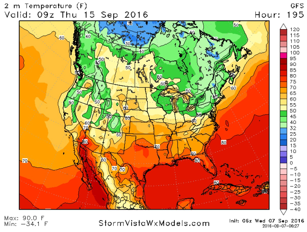 It's still more than a full week out, but daybreak temperatures could be in the 40s across Western New York next Thursday. (StormVistaWxModels.com)