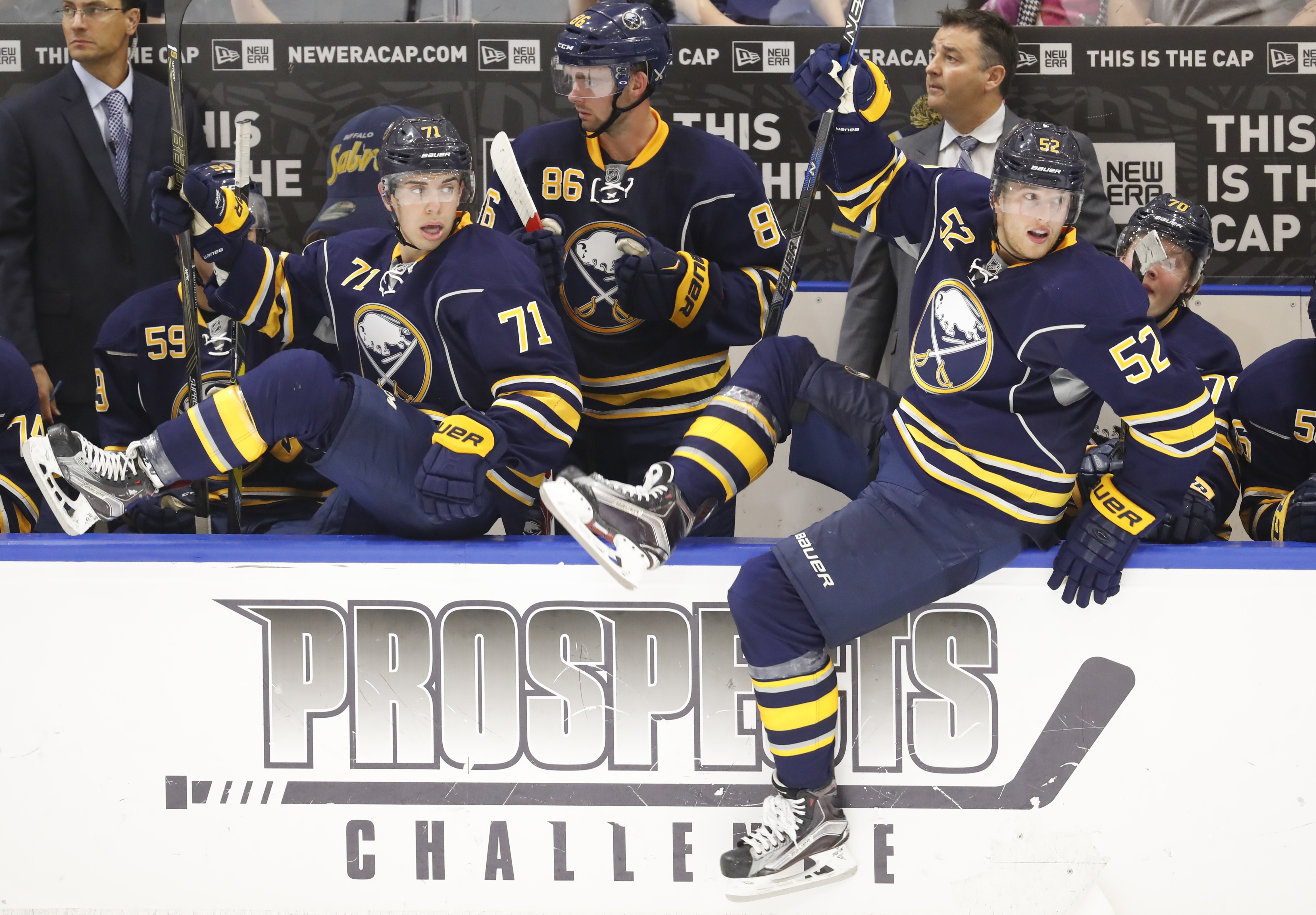 Evan Rodrigues (71) and Eric Cornel (86) were among the Sabres' demotions Saturday.