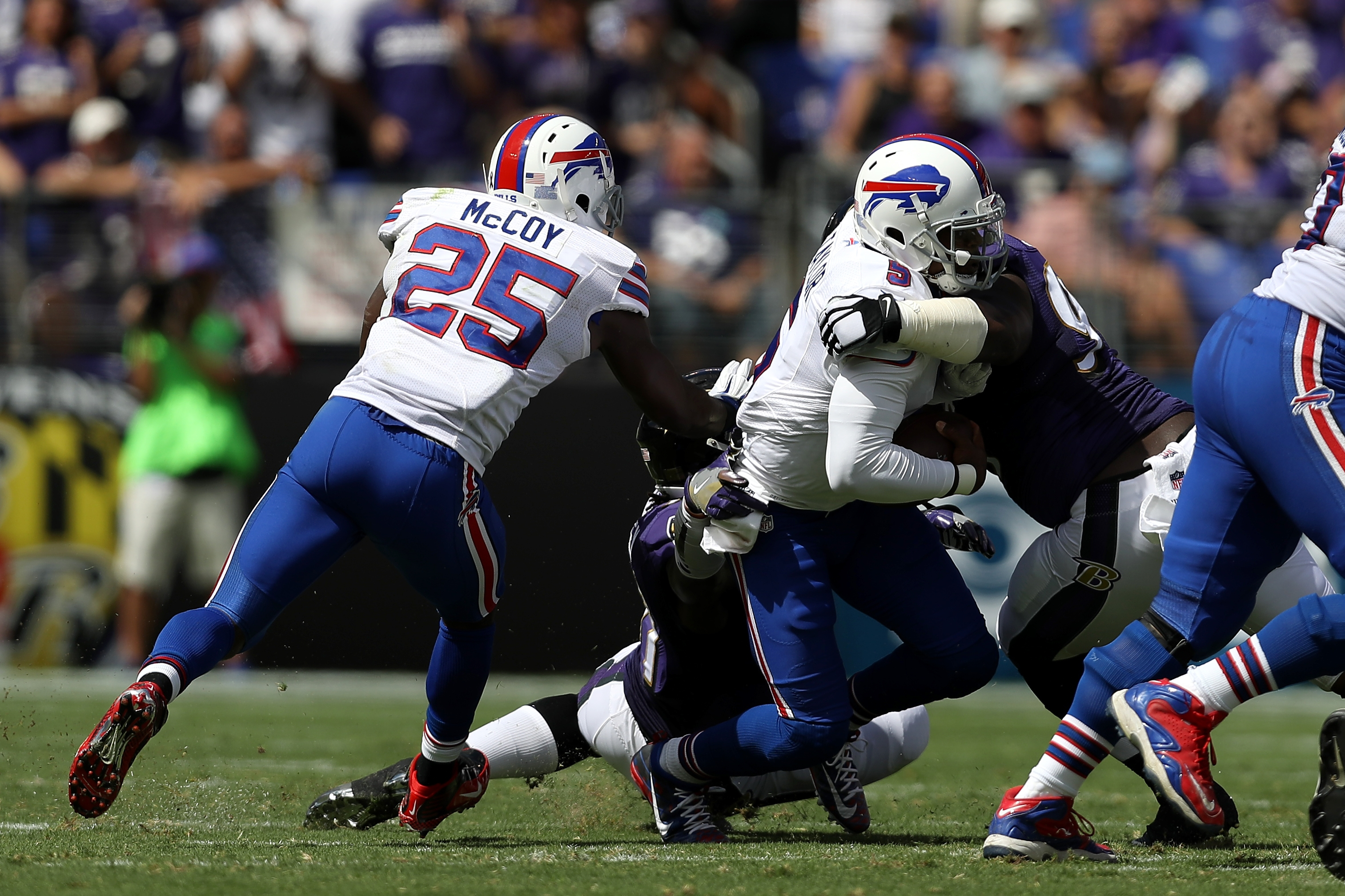 Tyrod Taylor is sacked in the first half.