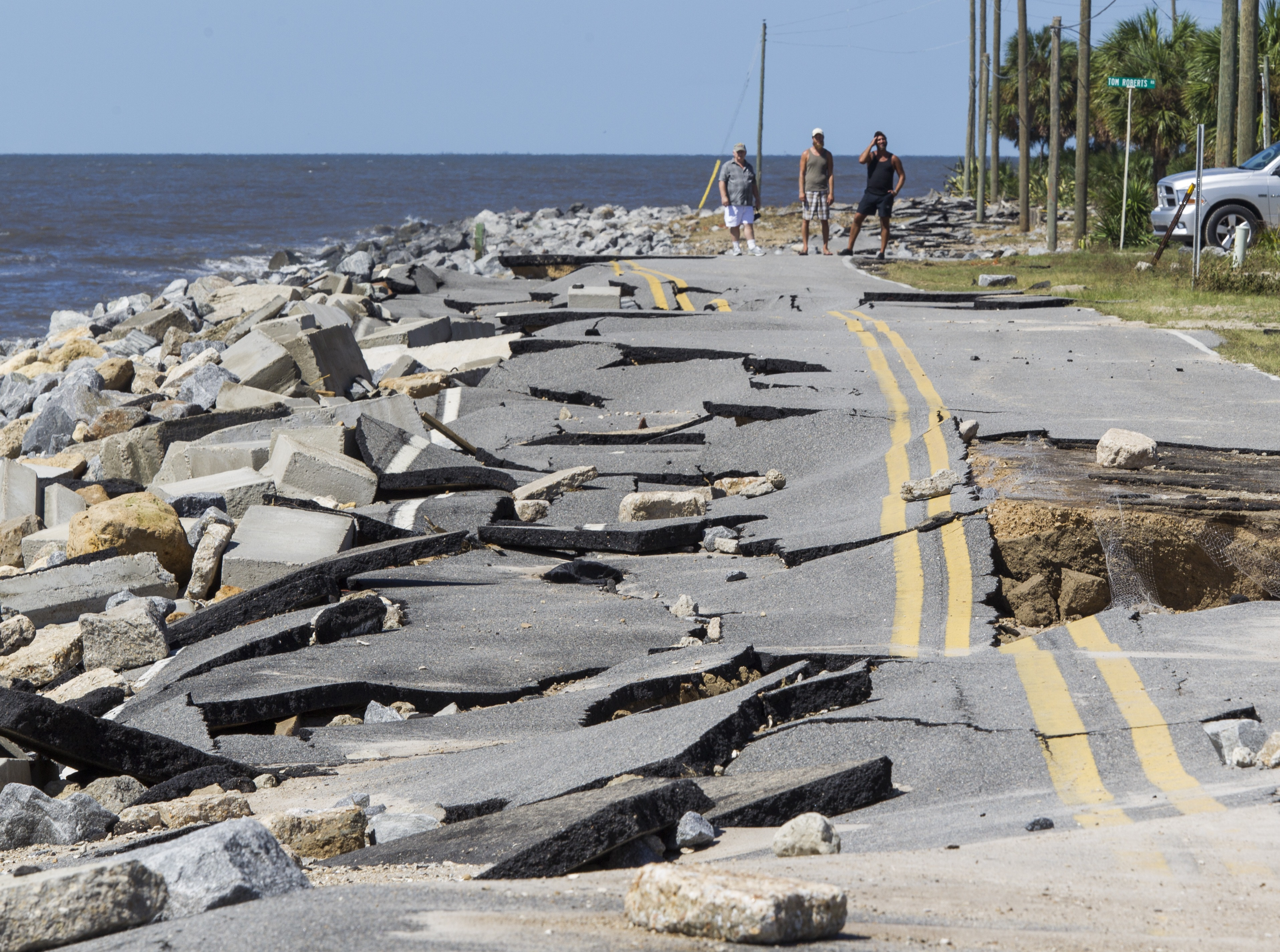A road in Alligator Point, Fla., collapsed during the storm surge from Hermine on Sept. 1. Hermine made landfall as a Category 1 hurricane but then weakened back to a tropical storm. (Mark Wallheiser/Getty Images)