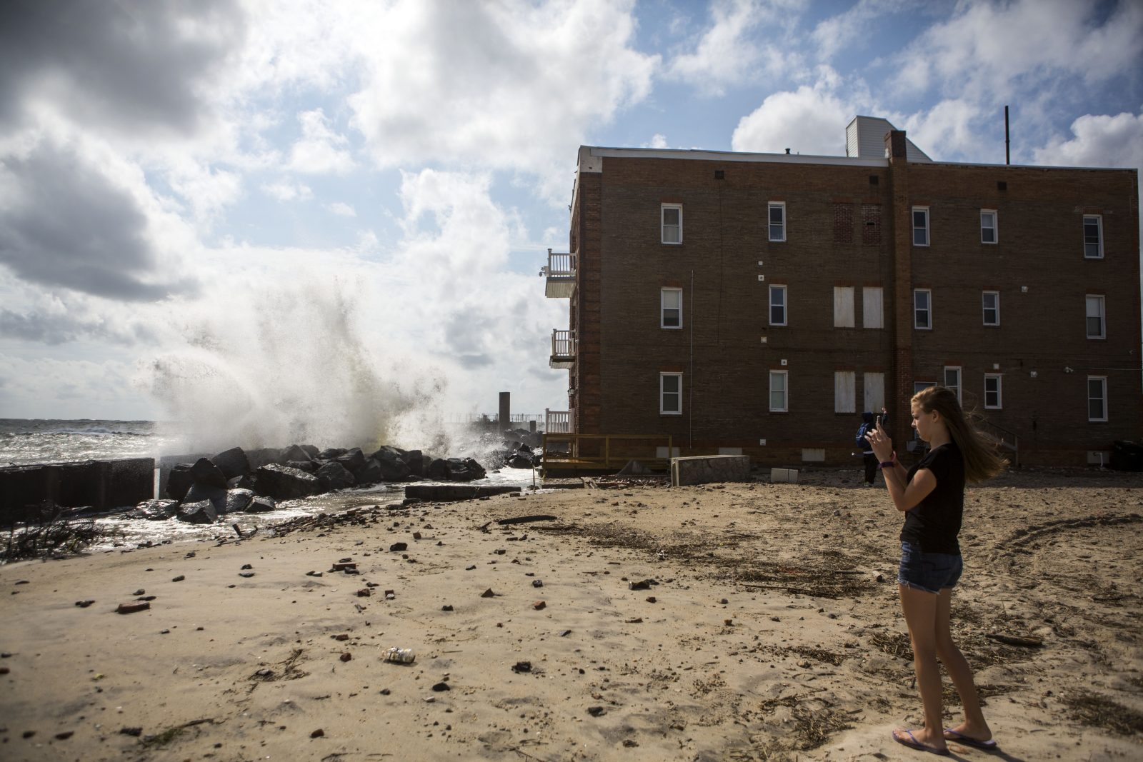 High winds from tropical storm Hermine drive waves onto the shore Atlantic City, N.J., on Sept. 4. (Jessica Kourkounis/Getty Images)