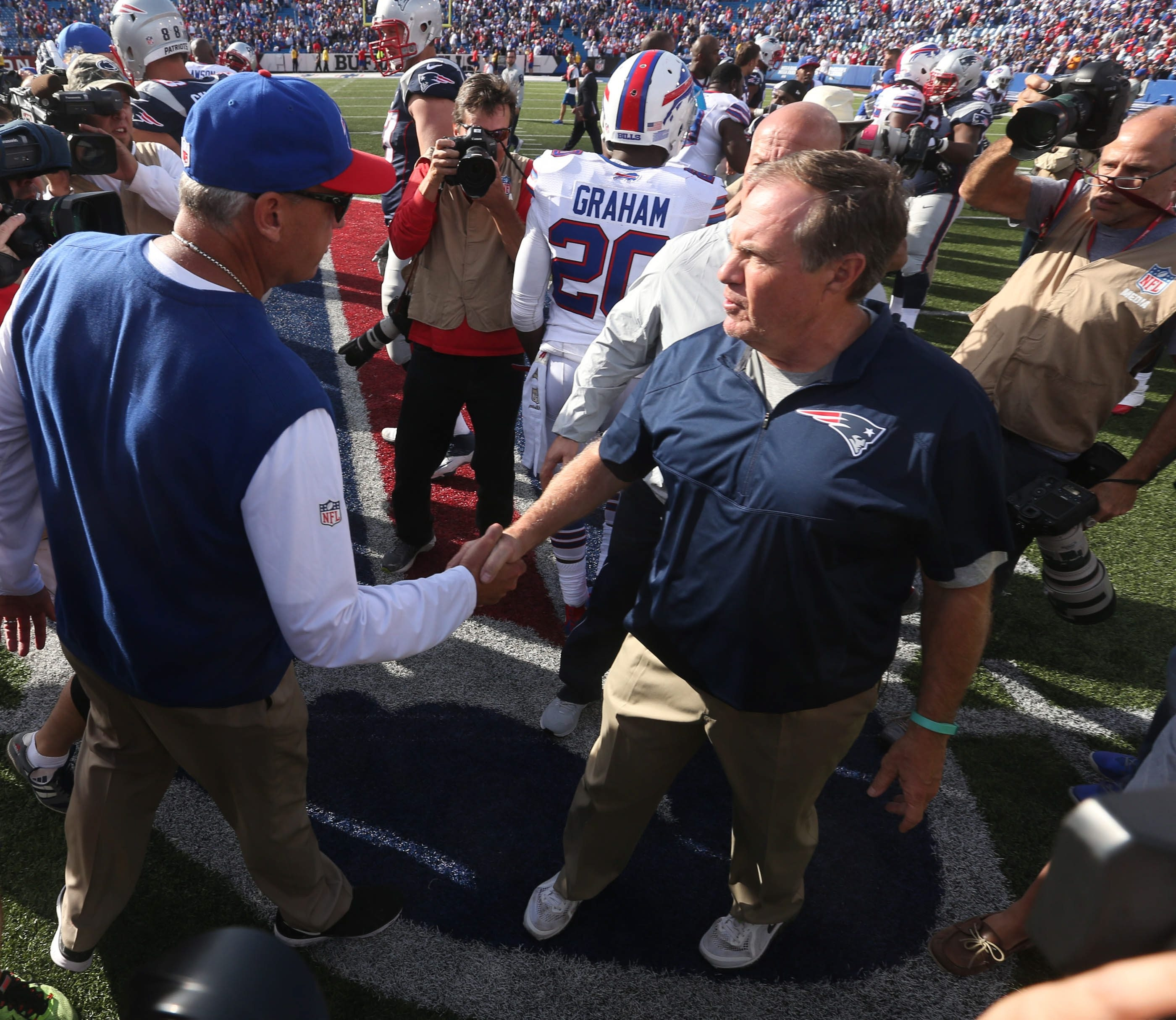 Longtime coaching rivals Rex Ryan and Bill Belichick shake hands at the end of last year's game in Orchard Park. Belichick has an 11-4 record against Ryan.