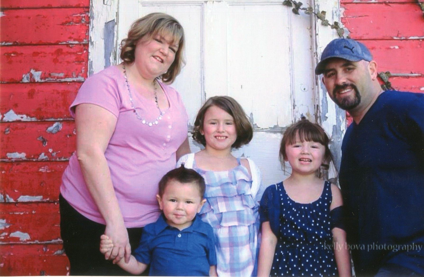 Marissa Nicholson with her children, Milo, Ellen and Juliet, and her husband, Todd, in a photo taken 3 years ago.
