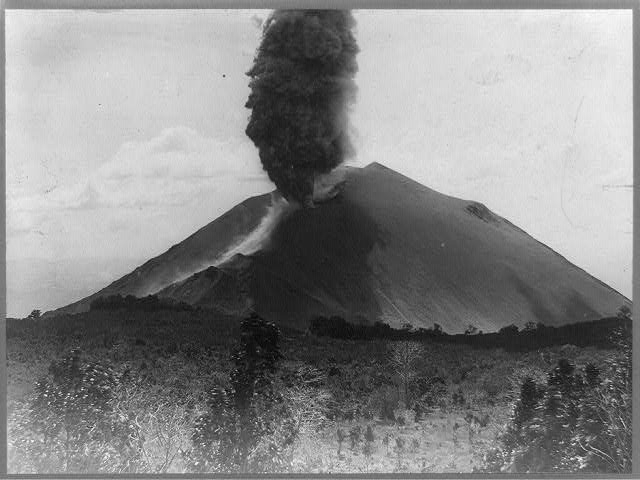 The eruption in 1816 of Mount Tambor in Indonesia was felt throughout the rest of the world. (This photo, taken in 1917, shows the eruption of a volcano in San Salvador.) (Photo by Library of Congress)