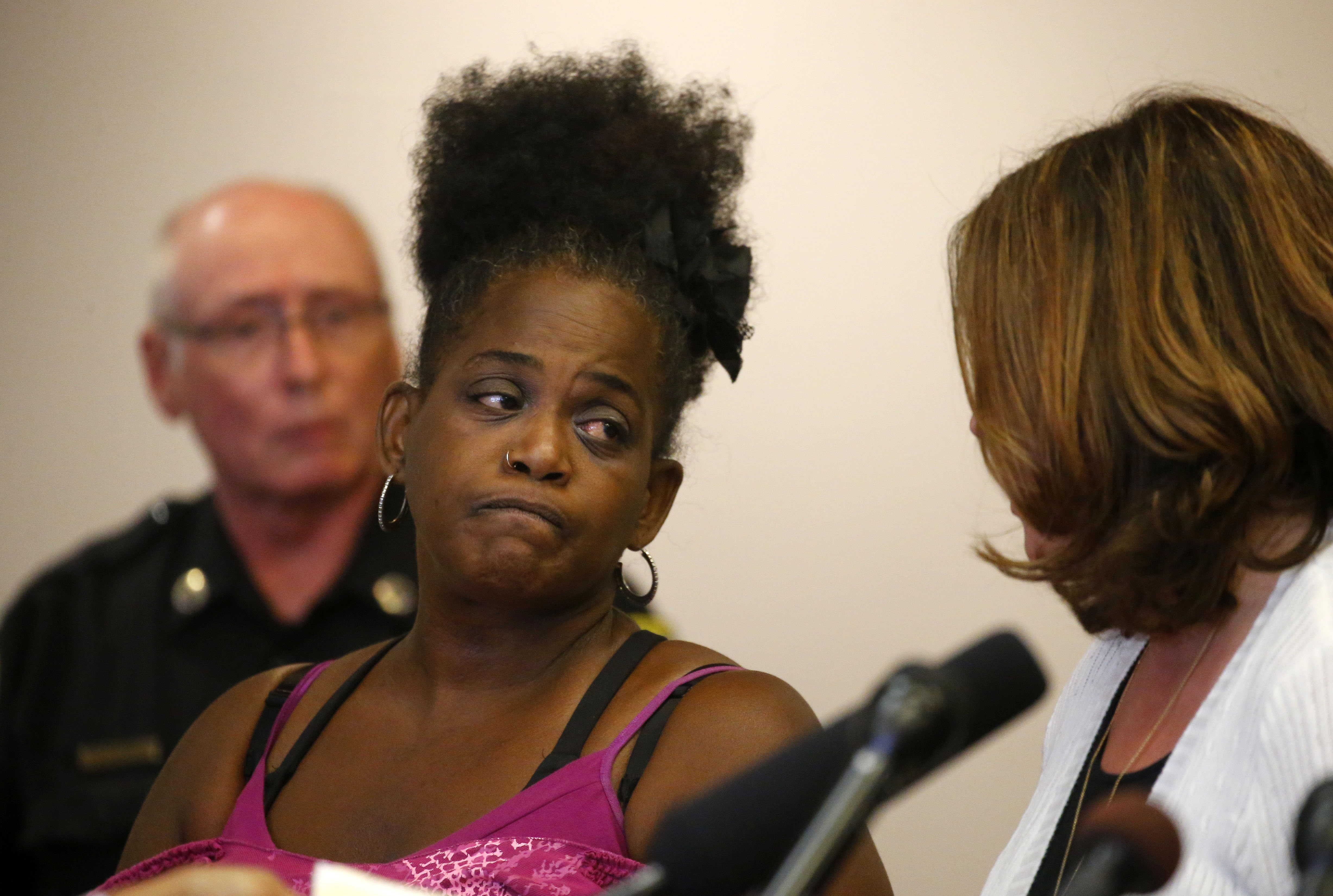 Saundra Adams, of Buffalo, is arraigned in front of Judge David W. Foley on Wednesday, Sept. 7, 2016, for the alleged 1983 murder of Edmund Schreiber in his home on Hastings Avenue in Buffalo. Schreiber, who was 92 at the time of his death, was a decorated veteran of World War I. (Mark Mulville/Buffalo News)