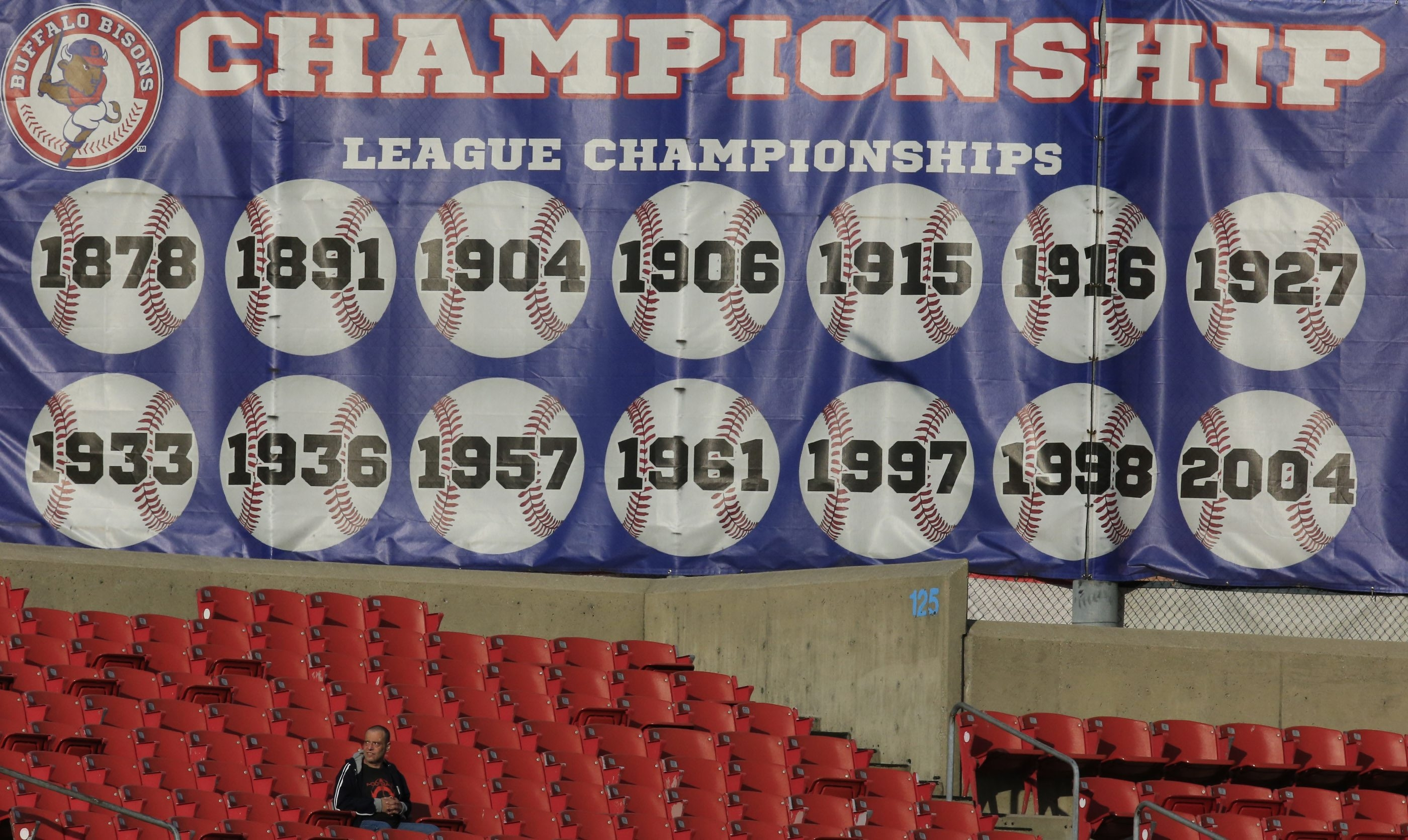 """There's no """"1991"""" on this banner at the Bisons' Coca-Cola Field."""