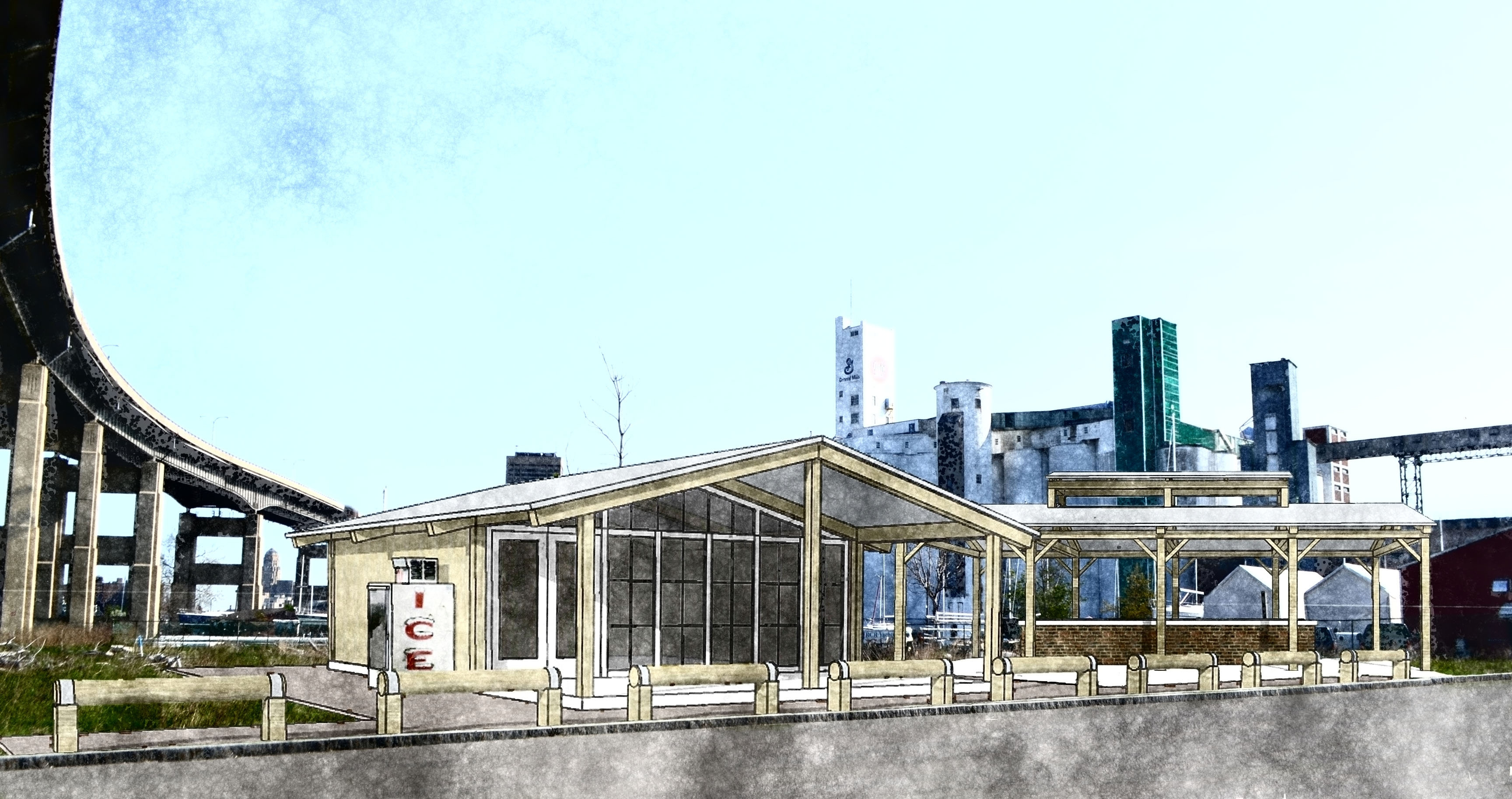 The plan to draw more visitors to the Outer Harbor includes a deli or food stand in the shadow of the Skyway.