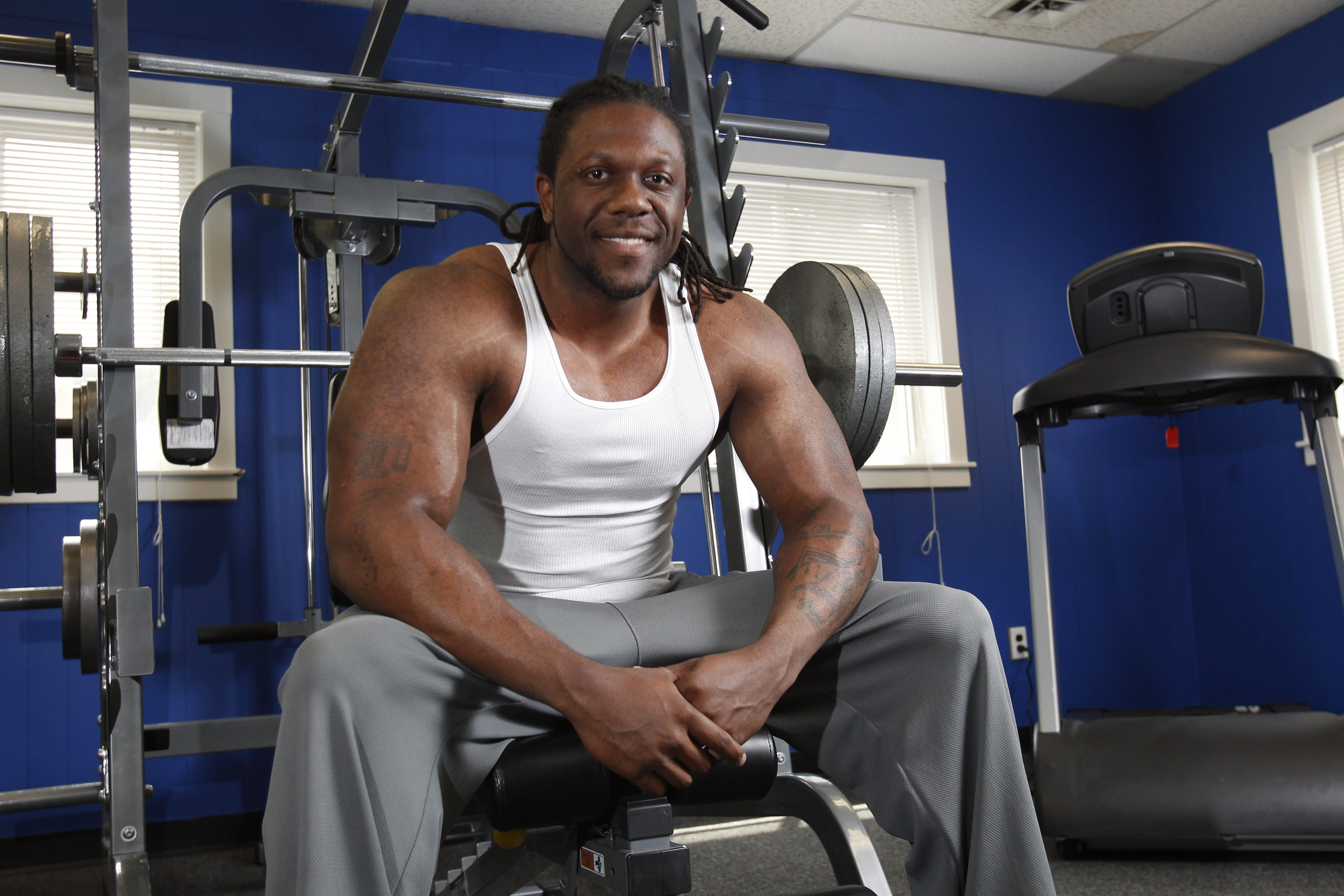 Dwayne Brinson is a personal fitness trainer and the owner of Fit Nation which recently opened on Main St. in Williamsville.  He was photographed at Fit Nation,Tuesday, June 10, 2014.  (Sharon Cantillon/Buffalo News)
