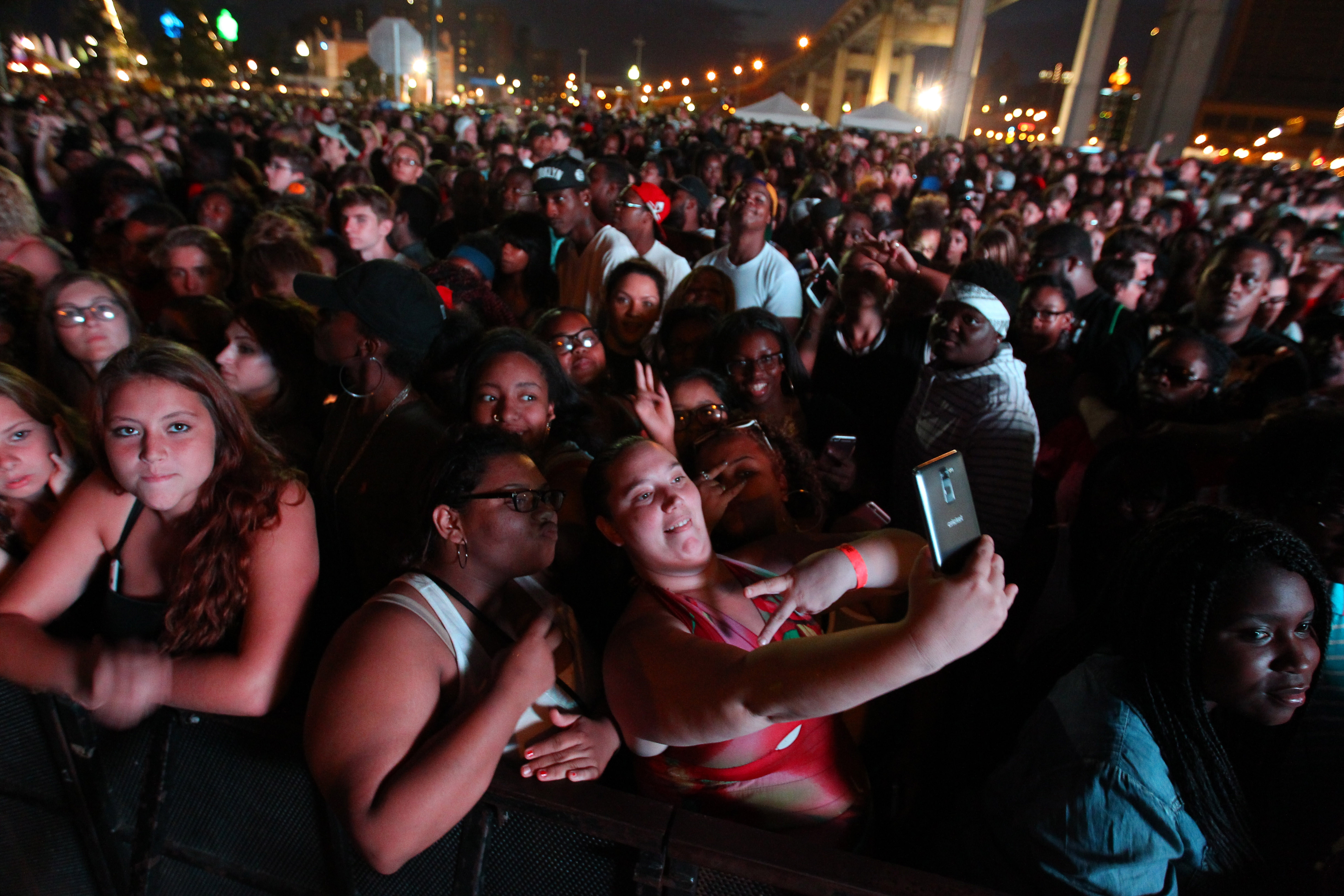 A full house greeted T-Pain as he played at Canalside in August. (Mark Mulville/Buffalo News)
