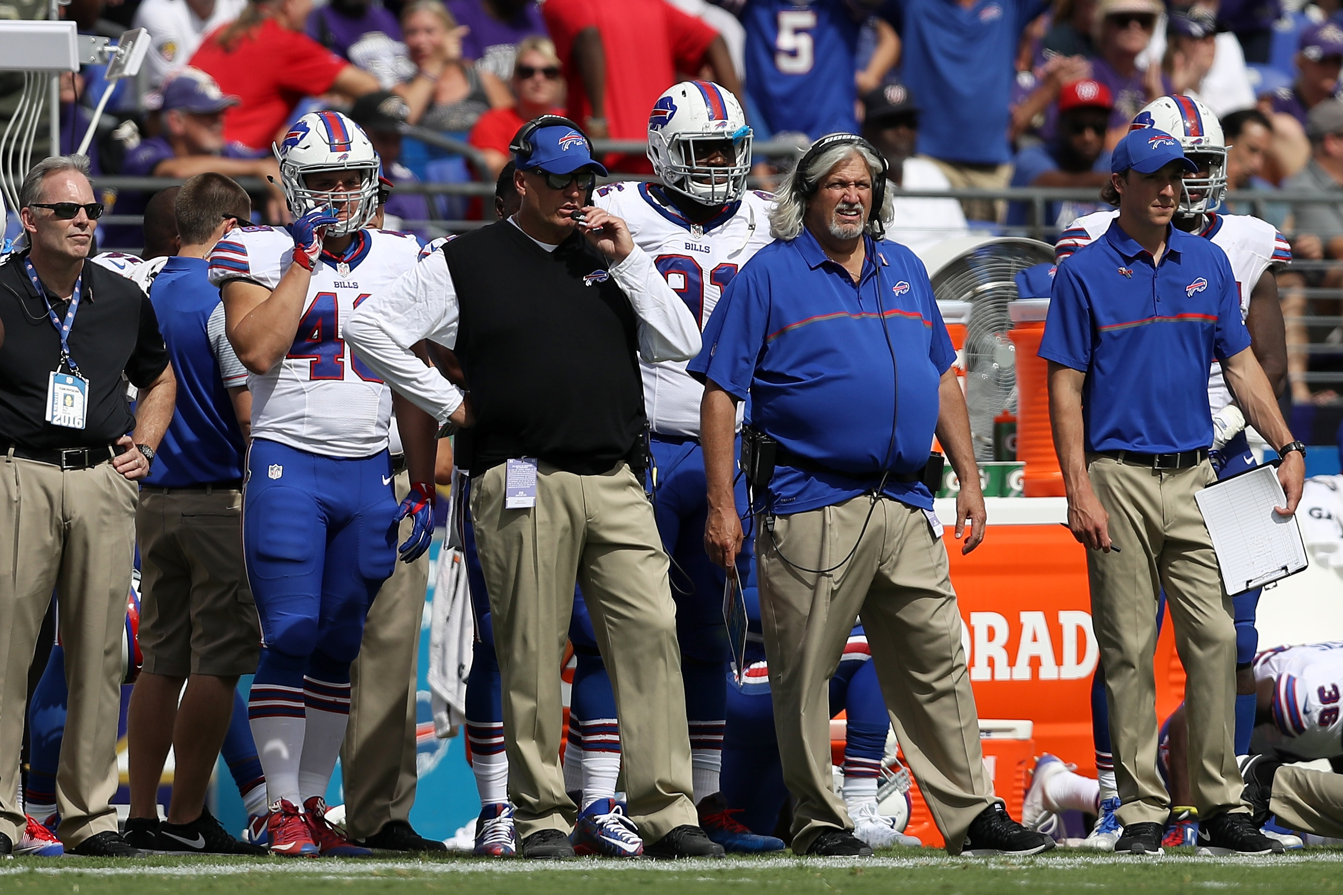 Head coach Rex Ryan and defensive coordinator Rob Ryan look on against the Baltimore Ravens in the second half.