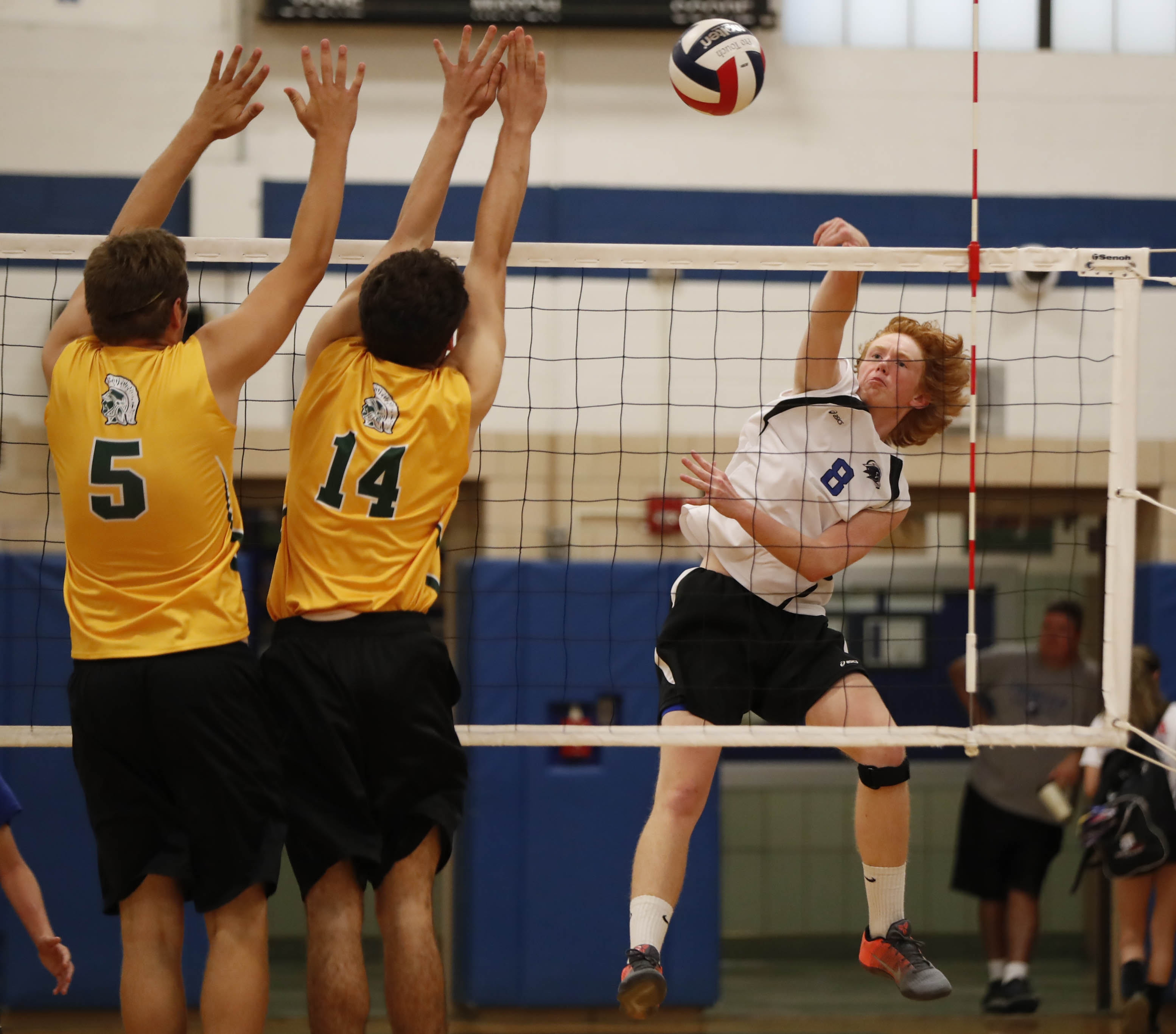 Frontier's Owen Bean hits a ball against two Williamsville North blockers during the first game of the match won by the Falcons.