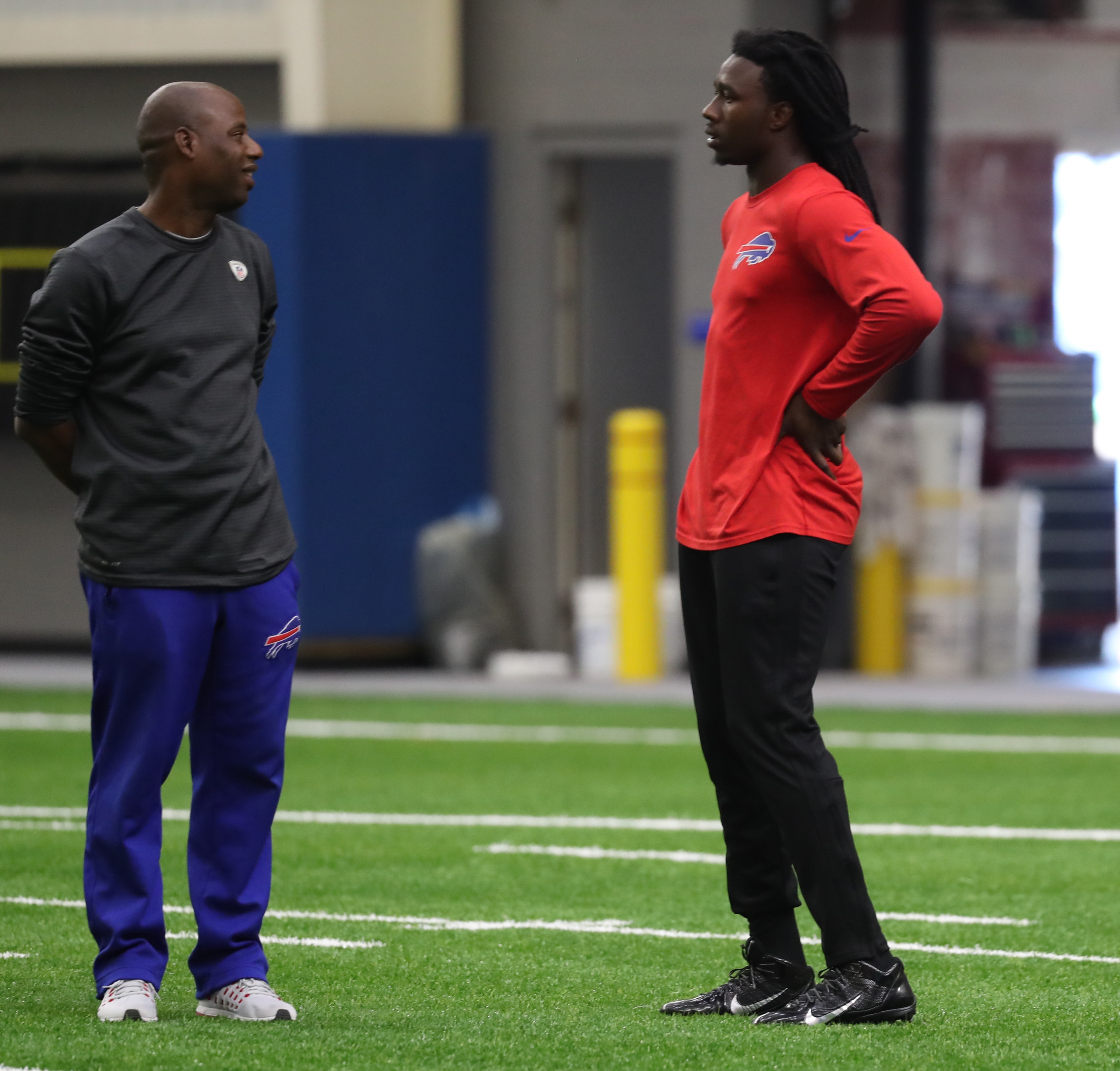 Buffalo Bills wide receiver Sammy Watkins, working with a member of the team's training staff, did not practice Tuesday.