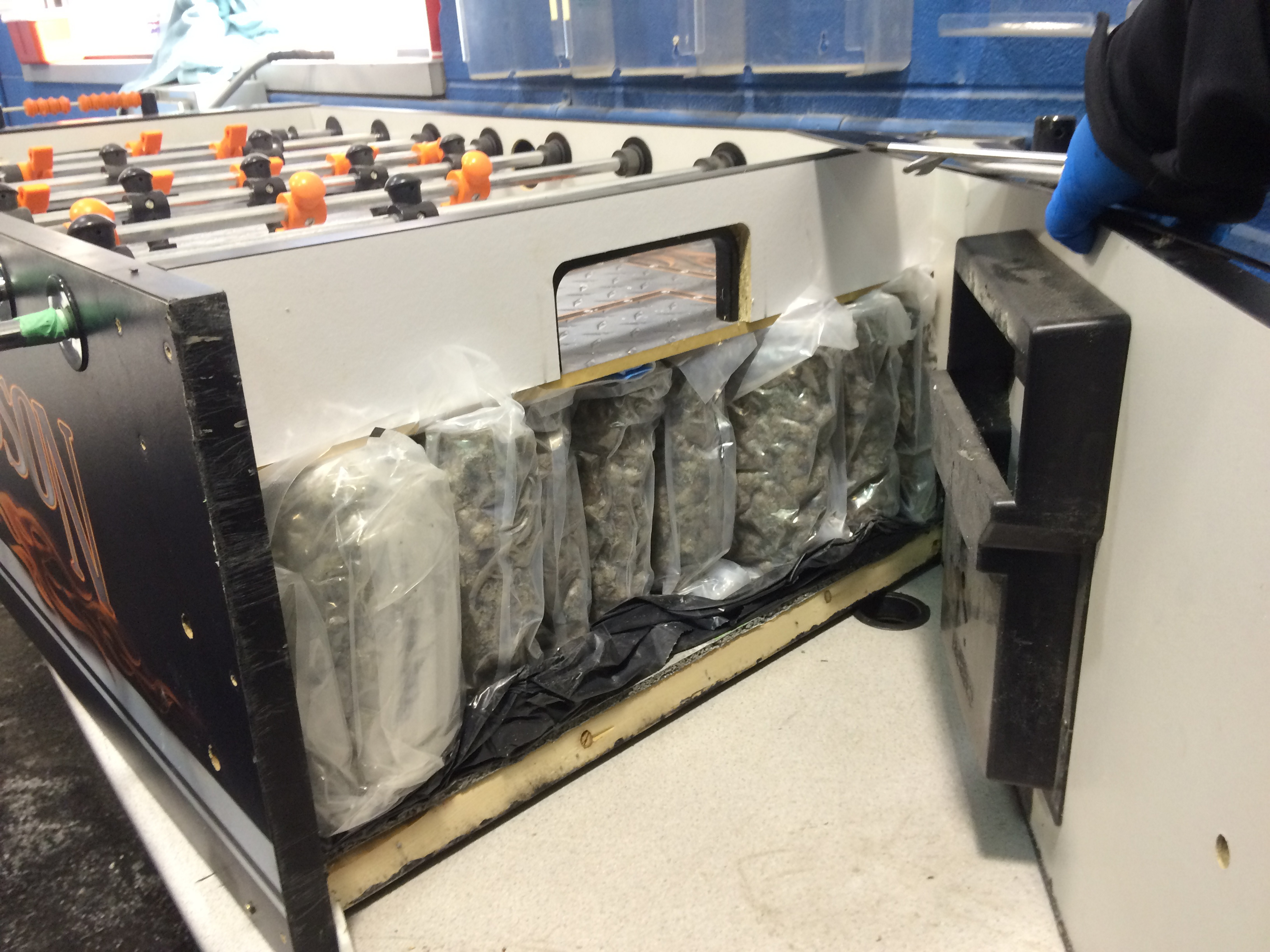 More than 50 pounds of marijuana was found hidden inside this foosball table when it was found in van at border crossing Jan. 13. (Photo courtesy of U.S. Customs and Border Protection Office)