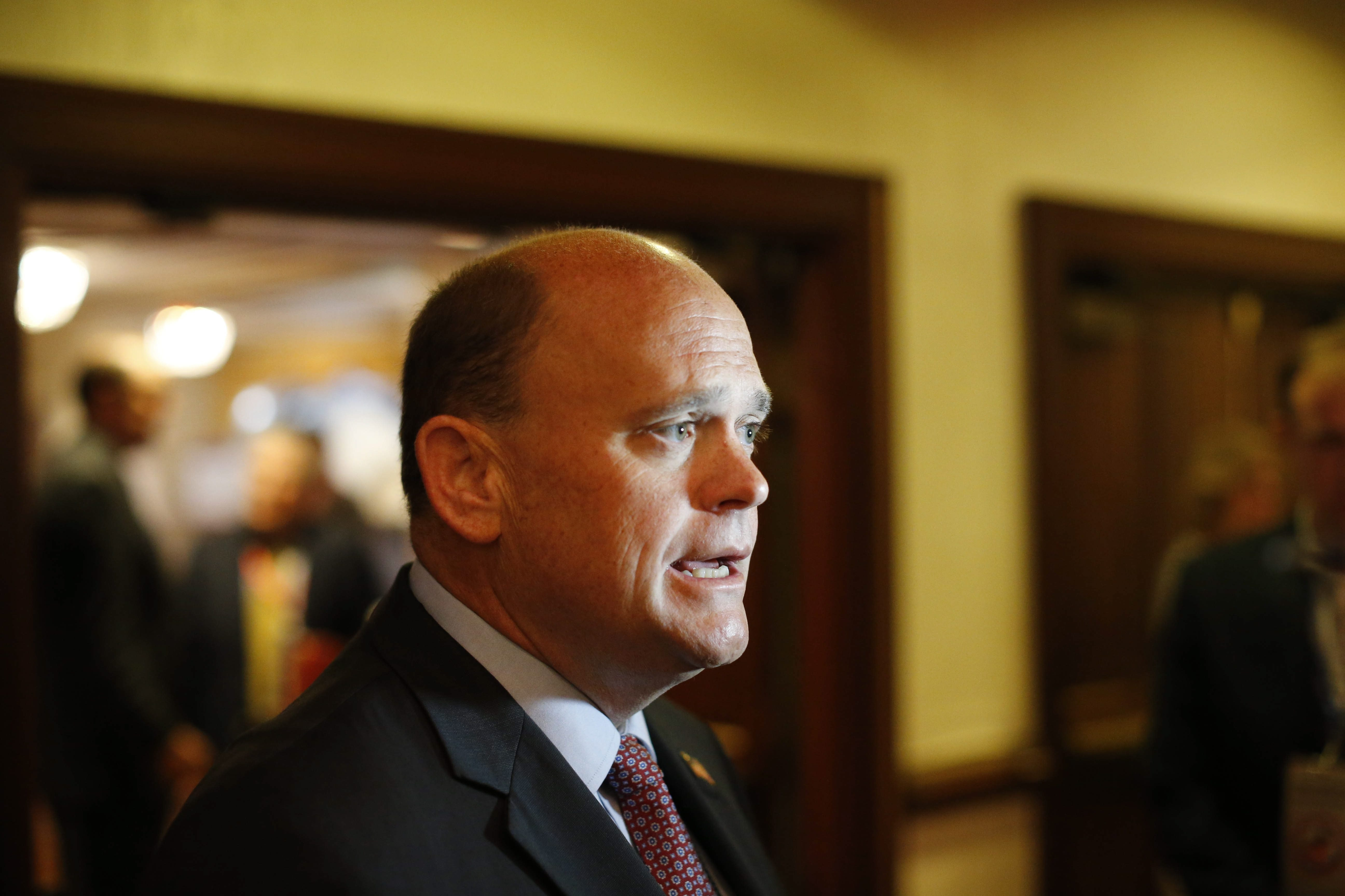"""Rep. Tom Reed, of Corning, reaffirms his support for Donald Trump even as he calls Trump's recently-revealed actions """"just plain wrong and I will not defend them.""""  (Photo by Derek Gee)"""