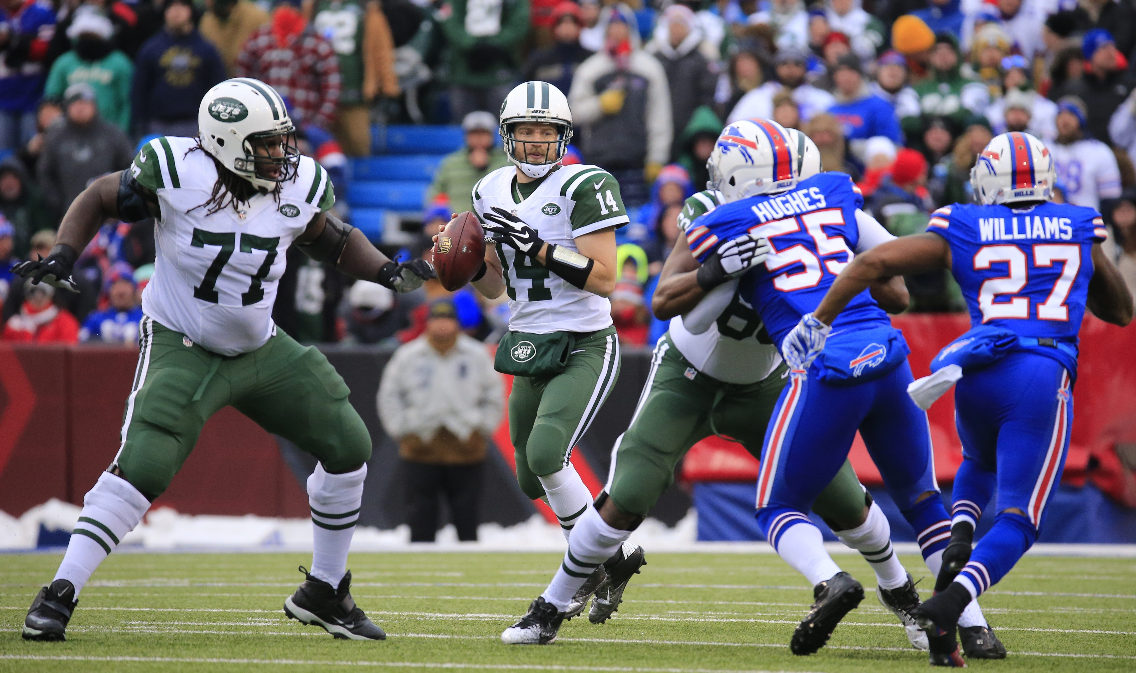 New York Jets quarterback Ryan Fitzpatrick throws against the Buffalo Bills during second quarter action at Ralph Wilson Stadium on Sunday, Jan. 3, 2016. (Harry Scull Jr./Buffalo News)