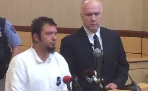 Shane Stevenson in Cheektowaga court this morning with assigned counsel, Jeffrey Krajewski. (John Hickey/Buffalo News)