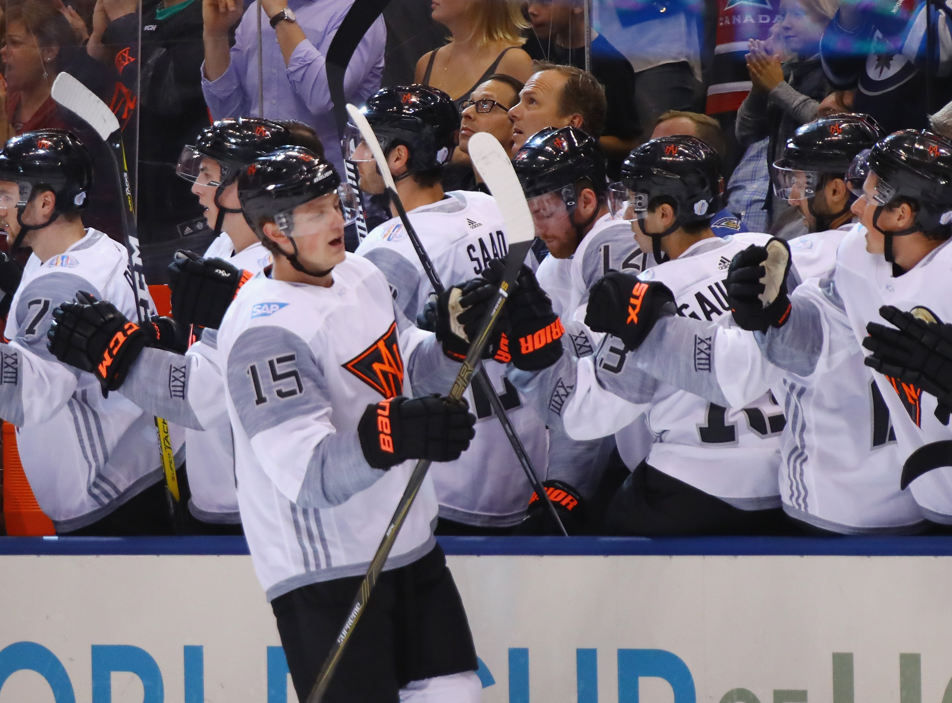Jack Eichel celebrates his goal at 5:03 of the first period against Team Finland.