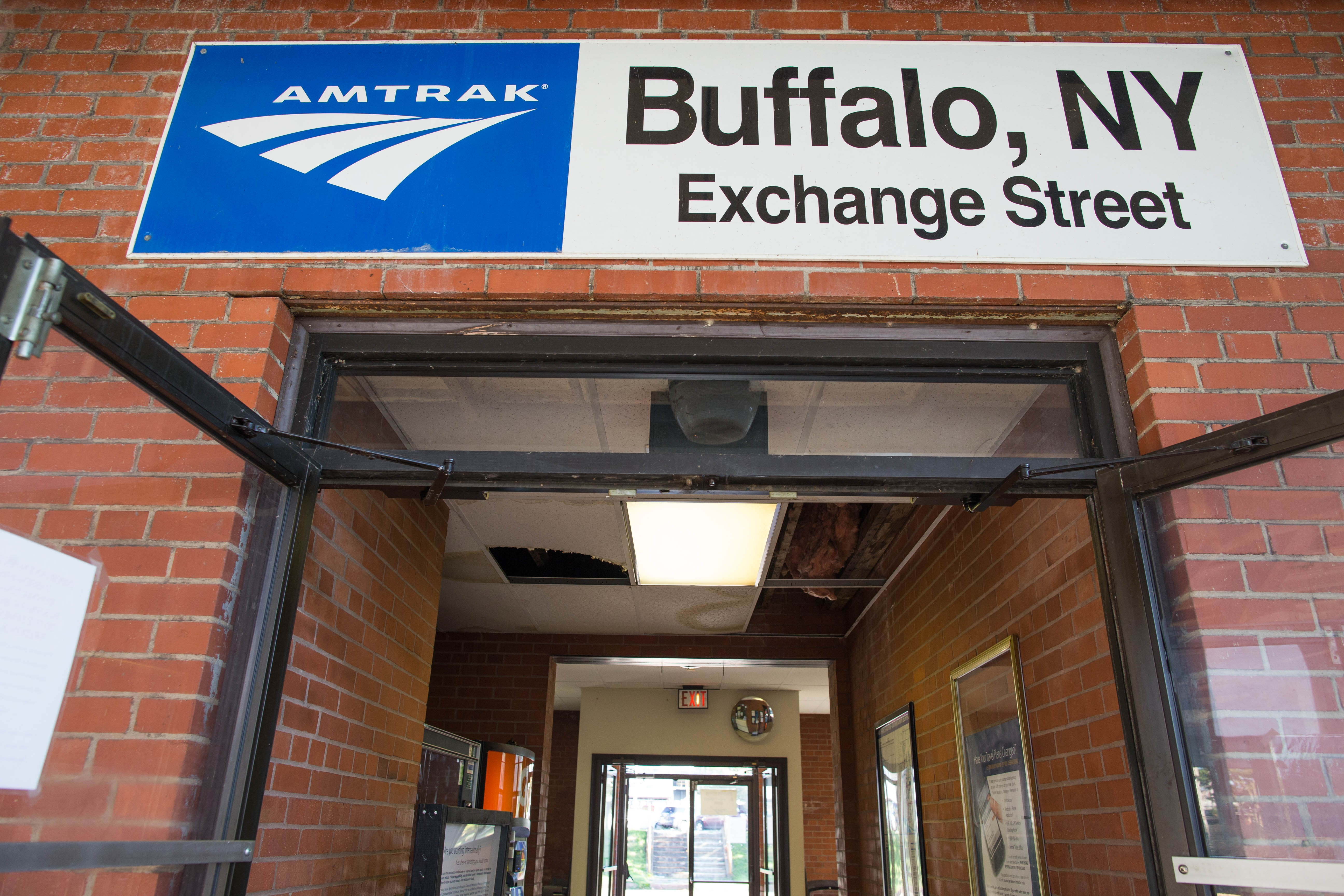 The Amtrak station on Exchange Street in downtown Buffalo is temporarily closed after a leaking roof caused the ceiling to collapse in several places. (Derek Gee/Buffalo News)