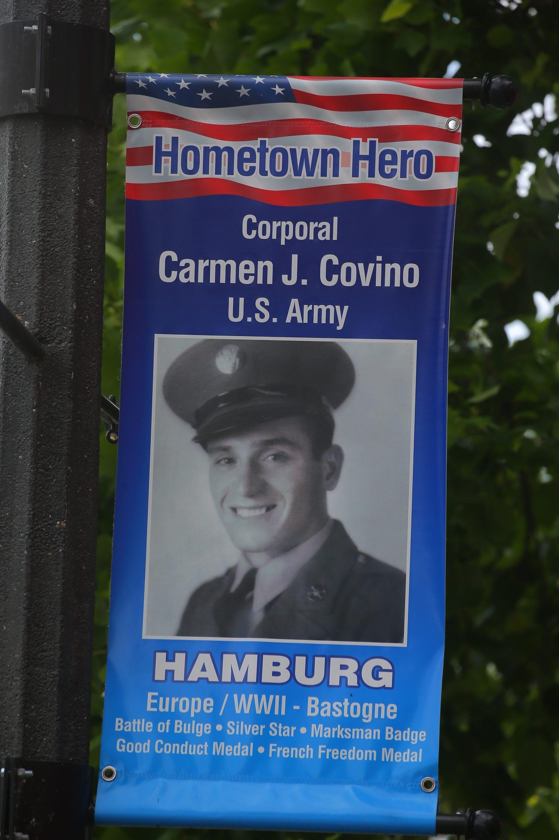 One of the Hometown Hero banners on Buffalo Street. (John Hickey/Buffalo News file photo)
