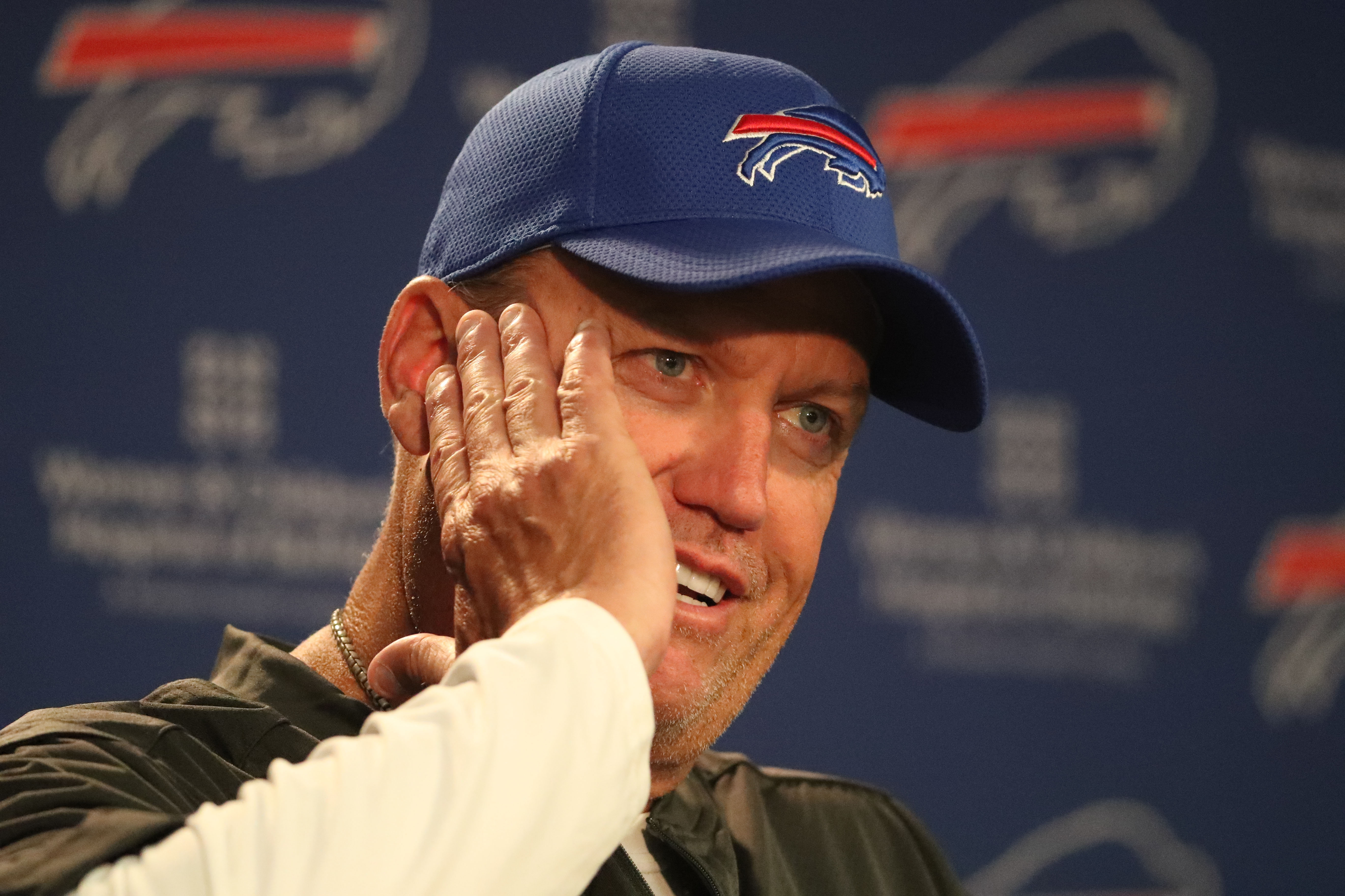 Buffalo Bills head coach Rex Ryan talks to the media during his weekly press conference at ADPRO Sports Training Center media room in Orchard Park,MD on Monday, Sept. 12, 2016.  (James P. McCoy/ Buffalo News)