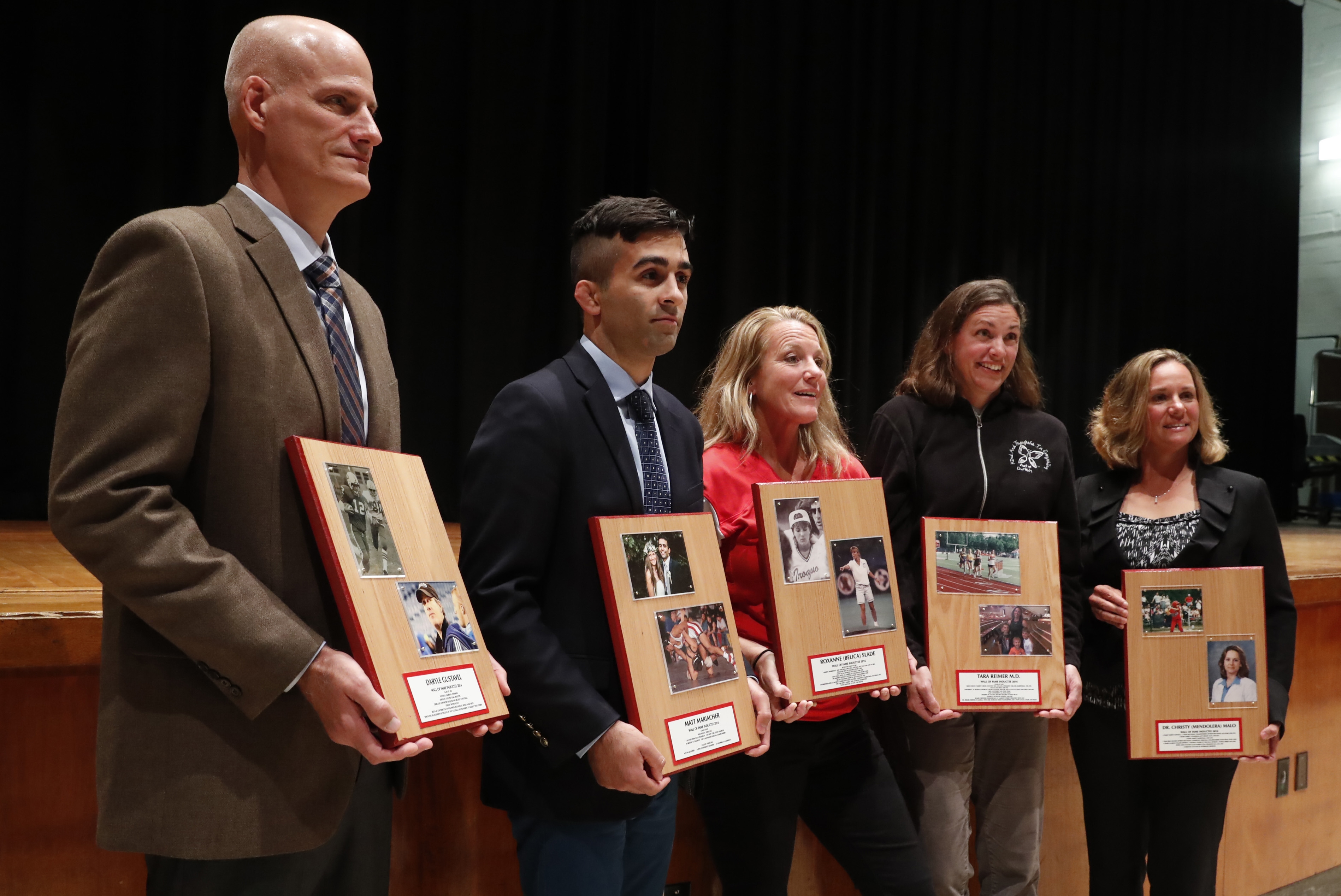 Inducted in the Iroquois Wall of Fame on Friday were Brian Gustavel (representing his brother Daryl), Matt Mariacher, Roxanne Slade, Tara Reimer and Christy Malo.