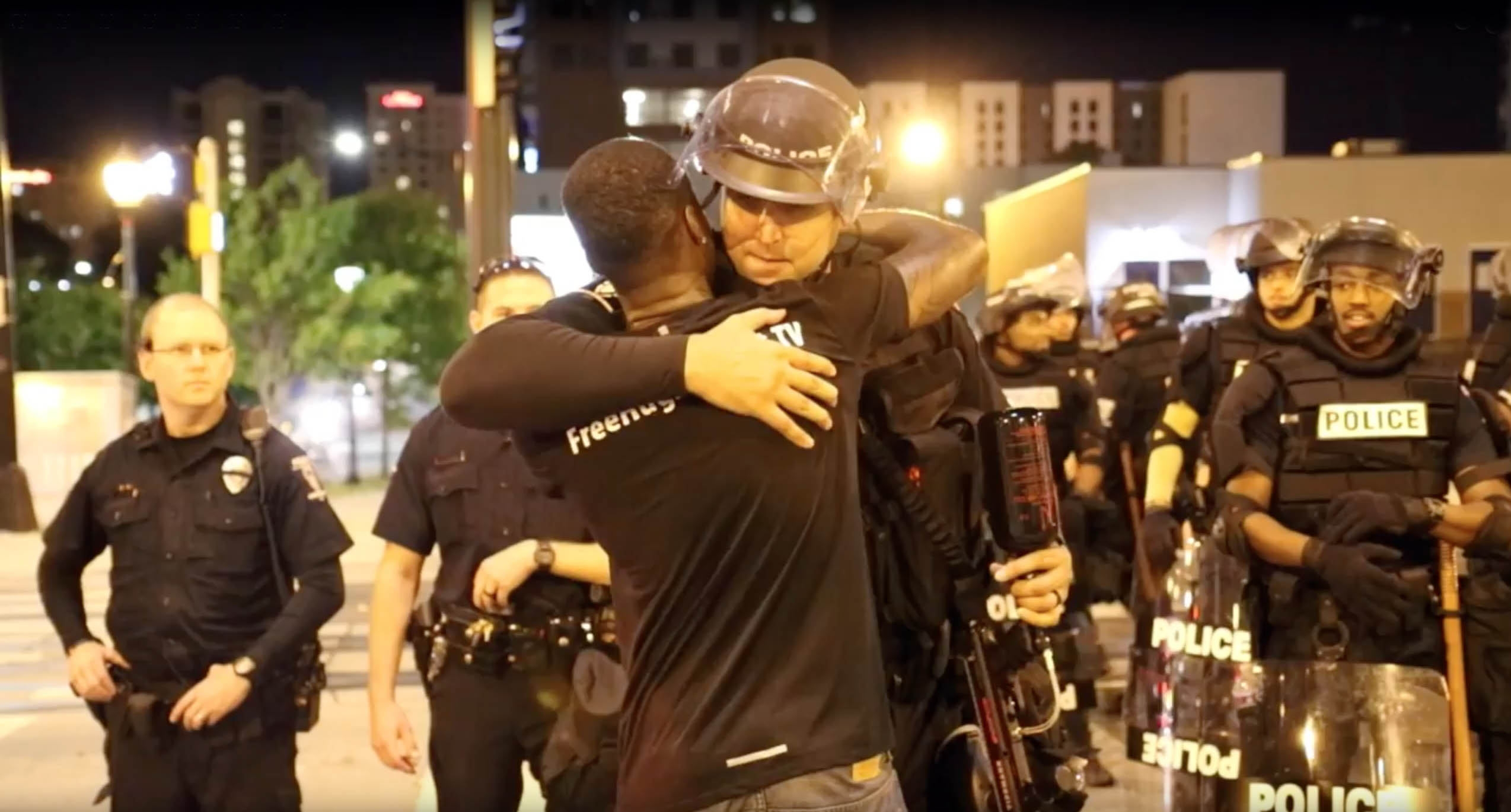The imposing Charlotte-Mecklenburg, N.C. police officer in full riot gear who gets a þÄúfree hugþÄù in the midst of riots and turmoil in that city has a Buffalo connection. The officer, Christopher Frunzi, is from Hamburg and graduated from St. Francis High School in 2002, according to the school.