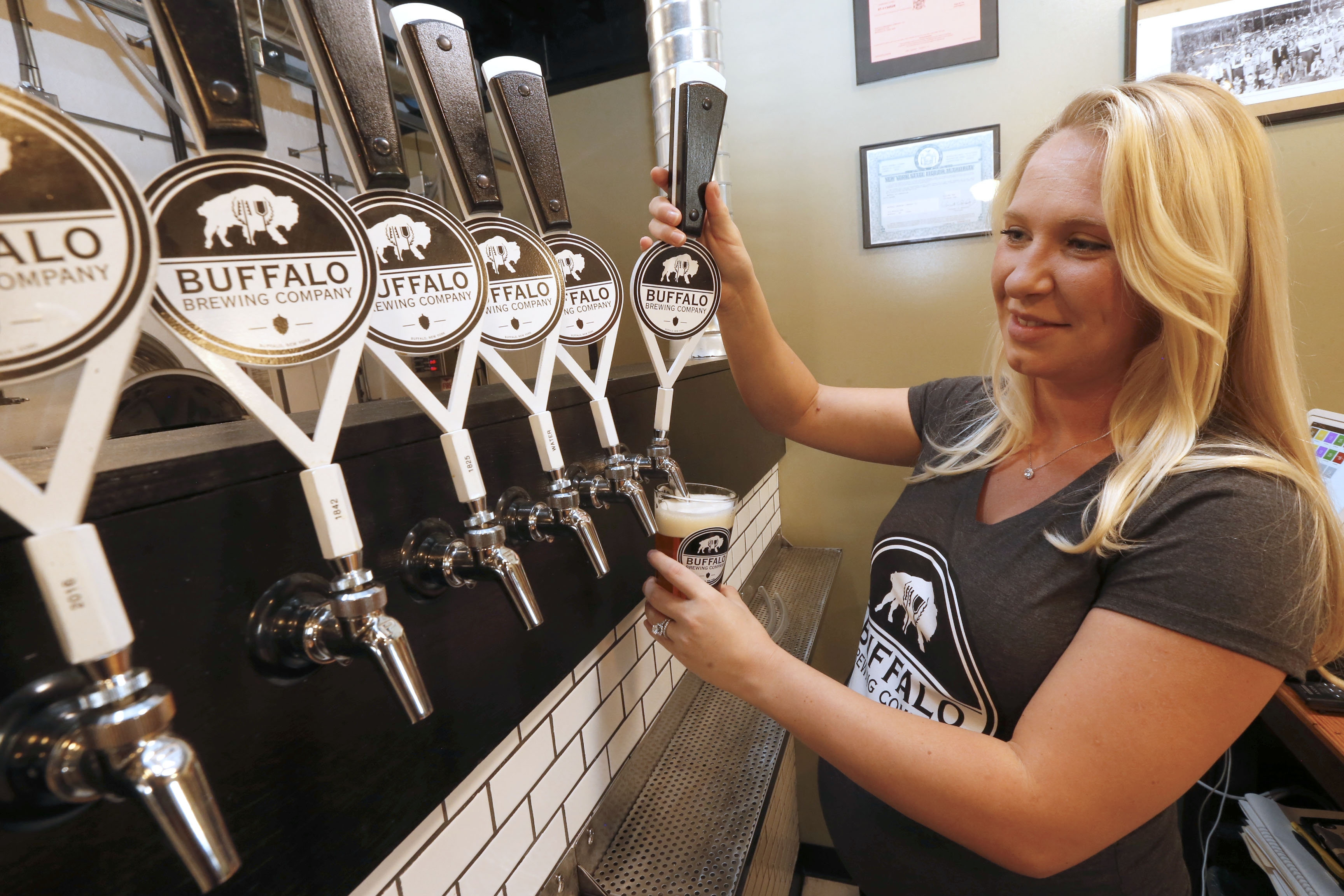 Heather Domres, co-owner of Buffalo Beer Co., 314 Myrtle Ave. in Buffalo on Tuesday, Sept. 13, 2016.  (Robert Kirkham/Buffalo News)