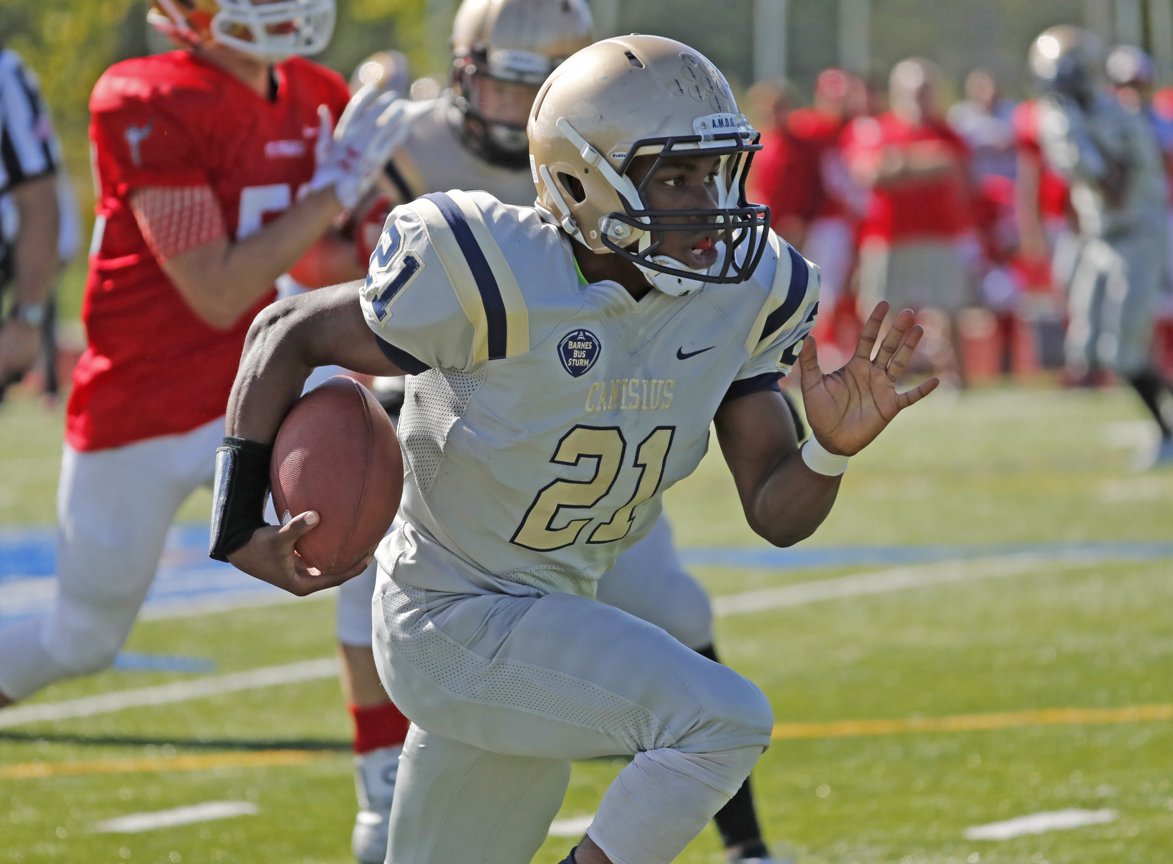 Kenyatta Huston and Canisius continued their run atop the large school football poll. The Crusaders are 4-0. (Harry Scull Jr./Buffalo News)