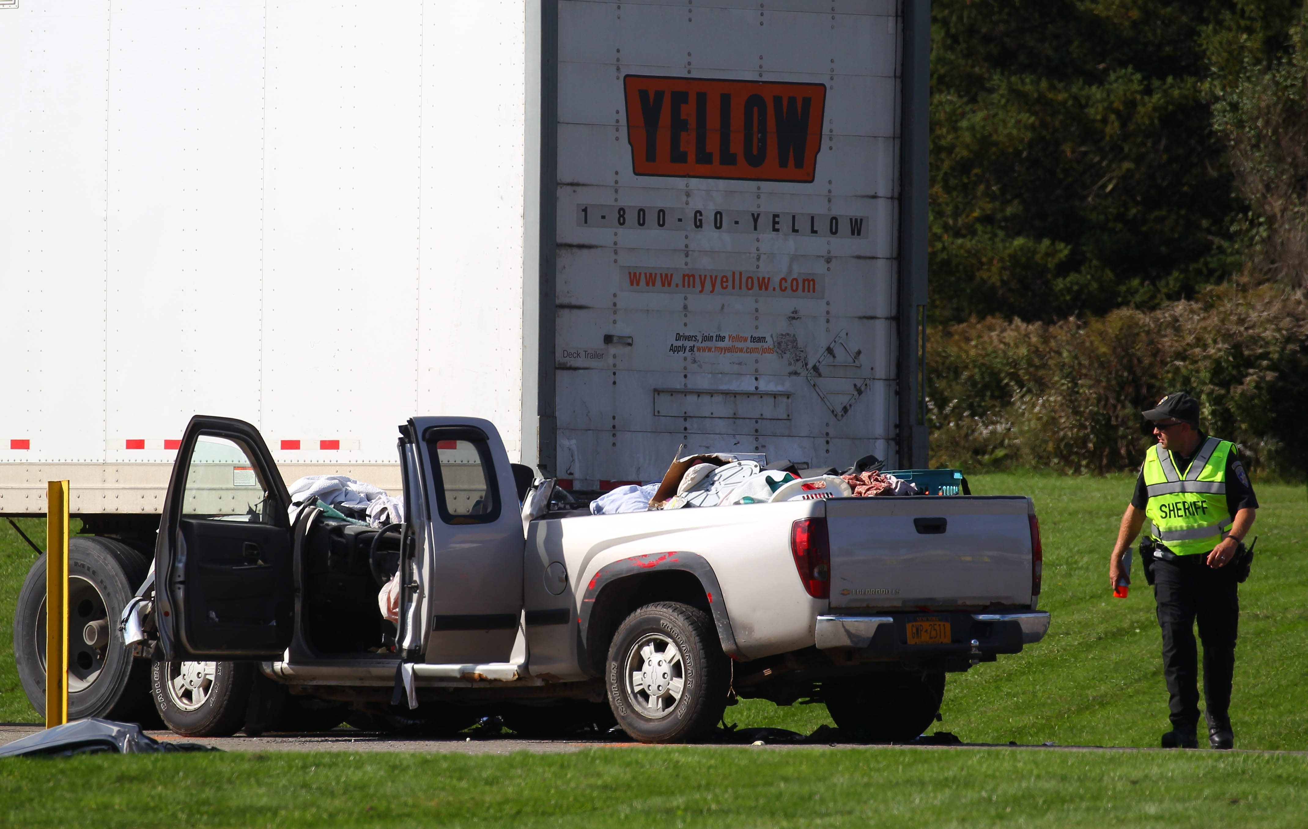 Rescue crews work at the scene of a crash on Olean Road in Sardinia, Thursday, Oct. 8, 2015. (Mark Mulville/Buffalo News)