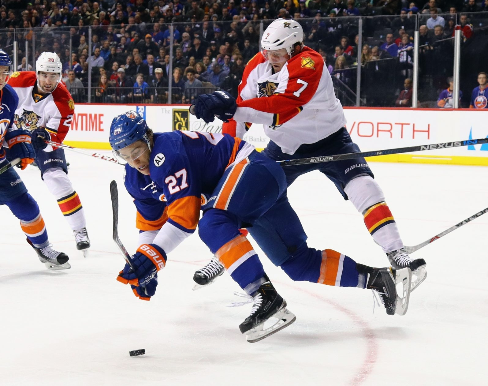 Dmitry Kulikov, delivering a check last season for the Florida Panthers, joined the Buffalo Sabres on the ice for the first time.