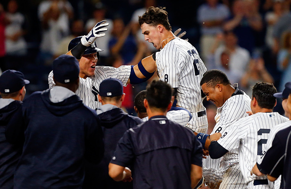 Yankees rookie Tyler Austin celebrates his walkoff home run Thursday against Tampa Bay (Getty Images).